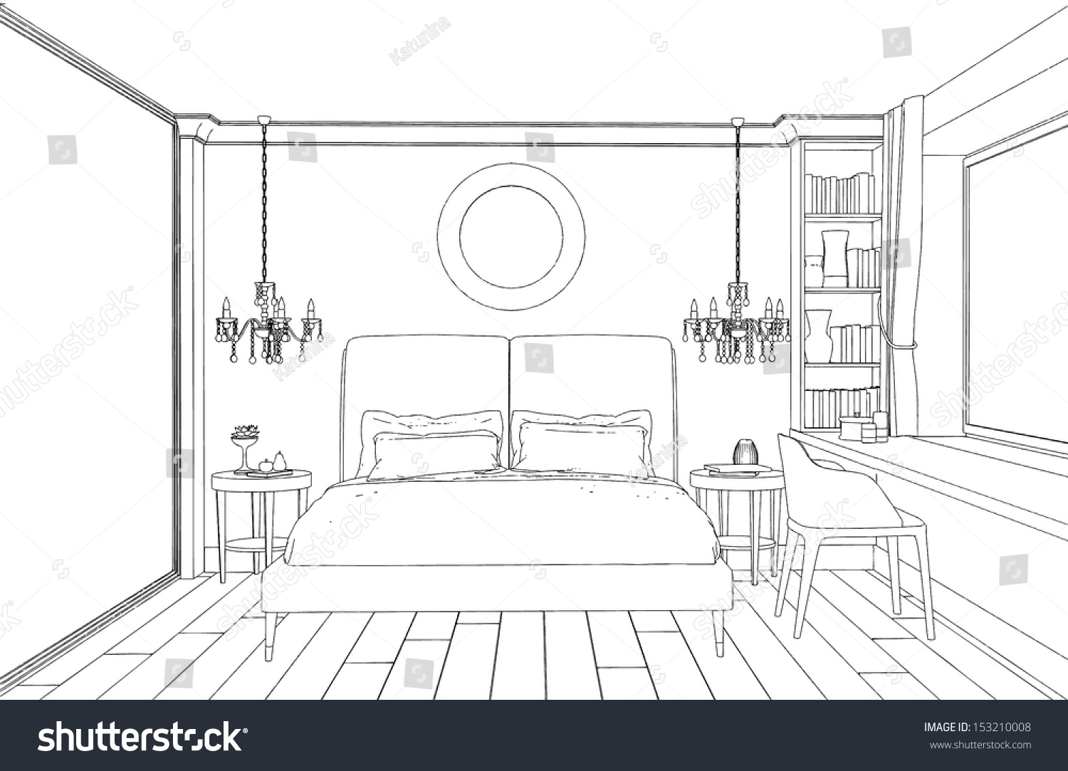 modern interior bedroom hand drawing stock vector illustration