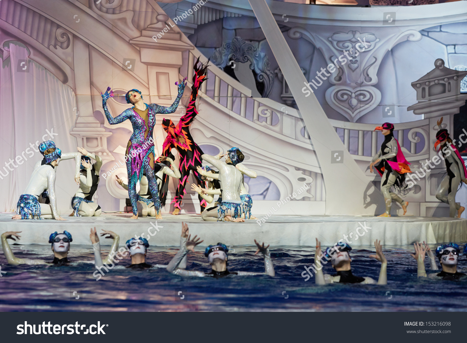 Swimming Pool Stage : Moscow jan actors in roles of frog and hawk on stage