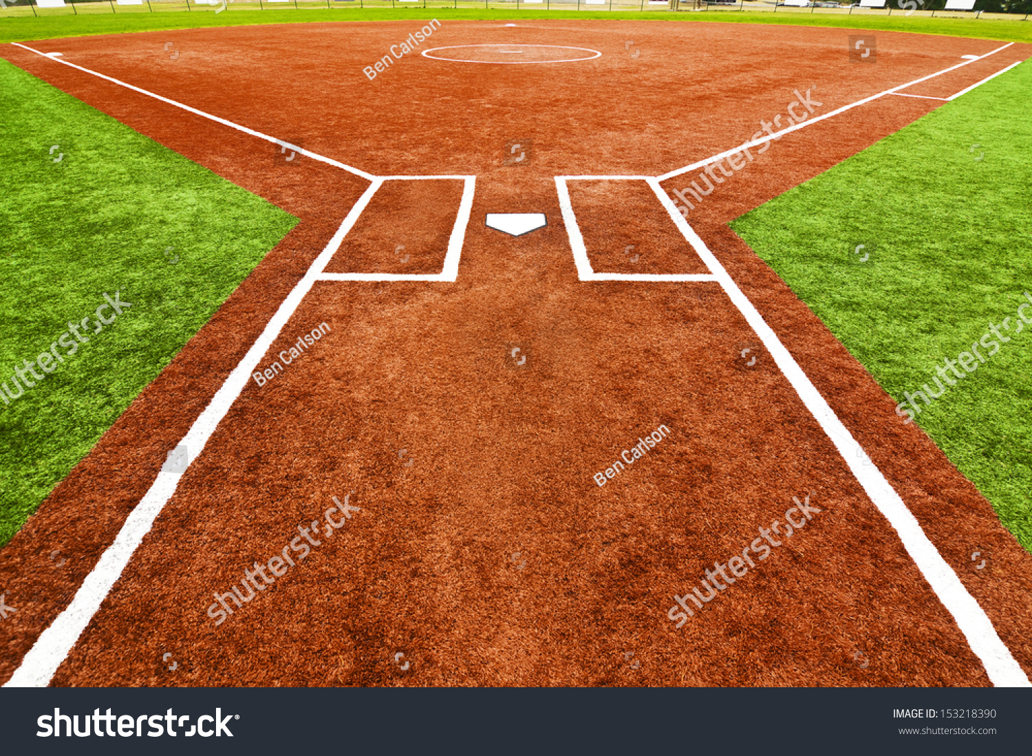 view behind home plate looking towards stock photo 153218390