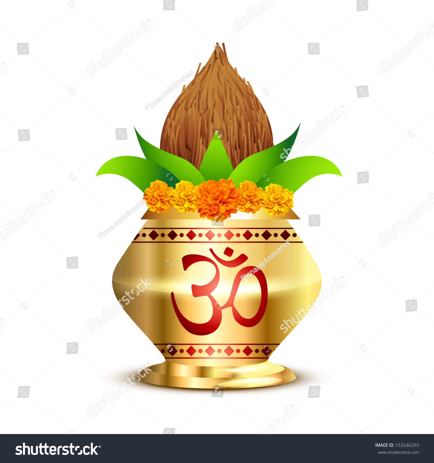 Pooja Kalash With Om Symbol Stock Vector Illustration ...