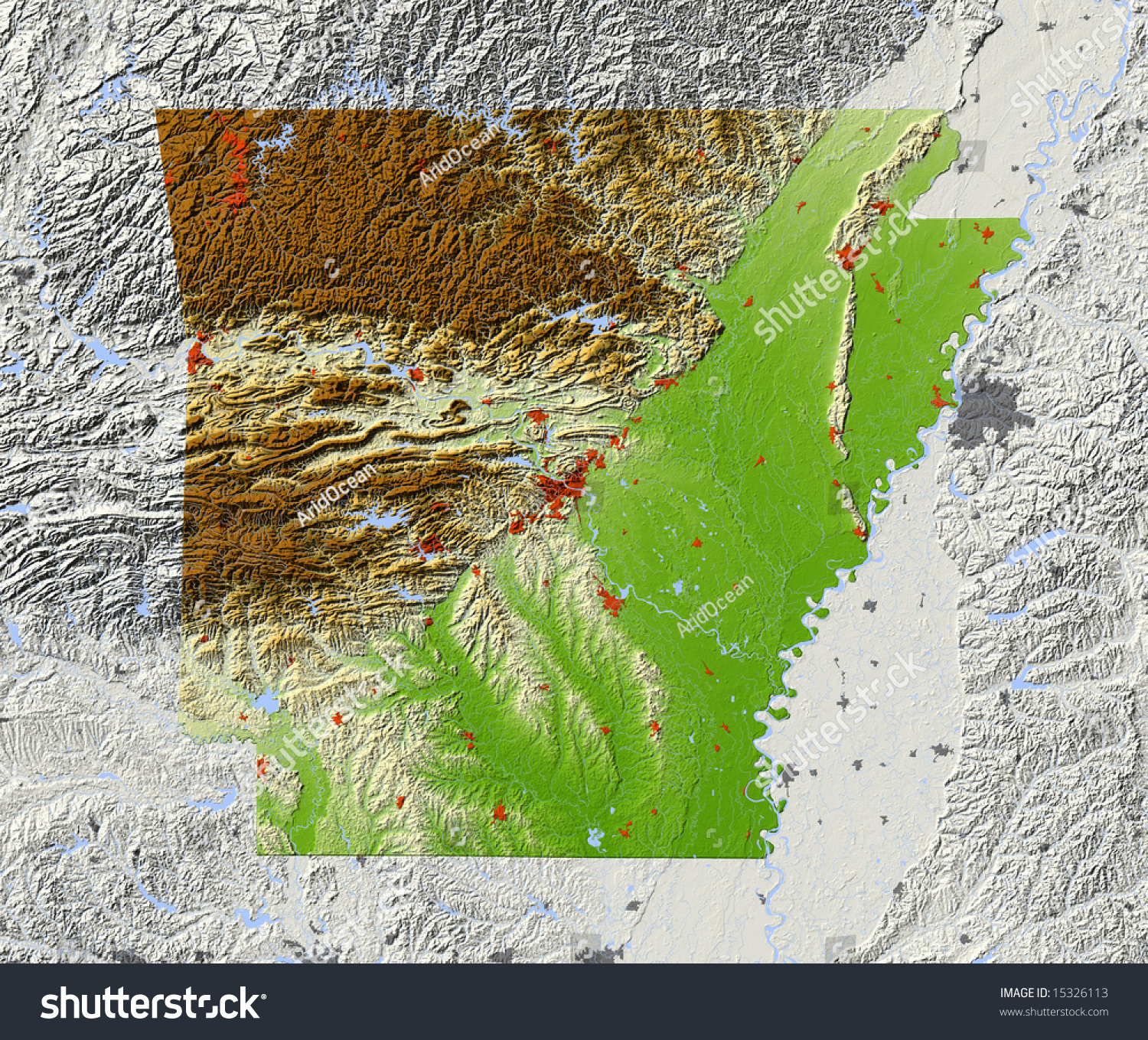 Arkansas Shaded Relief Map Major Urban Stock Illustration - Arkansas relief map