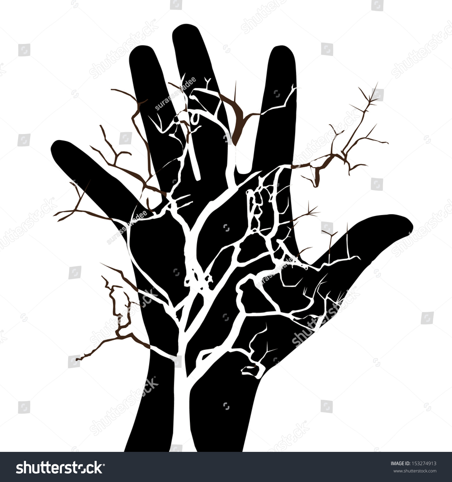 Abstract Artistic Hand Tree Dry Symbol Stock Vector Hd Royalty Free
