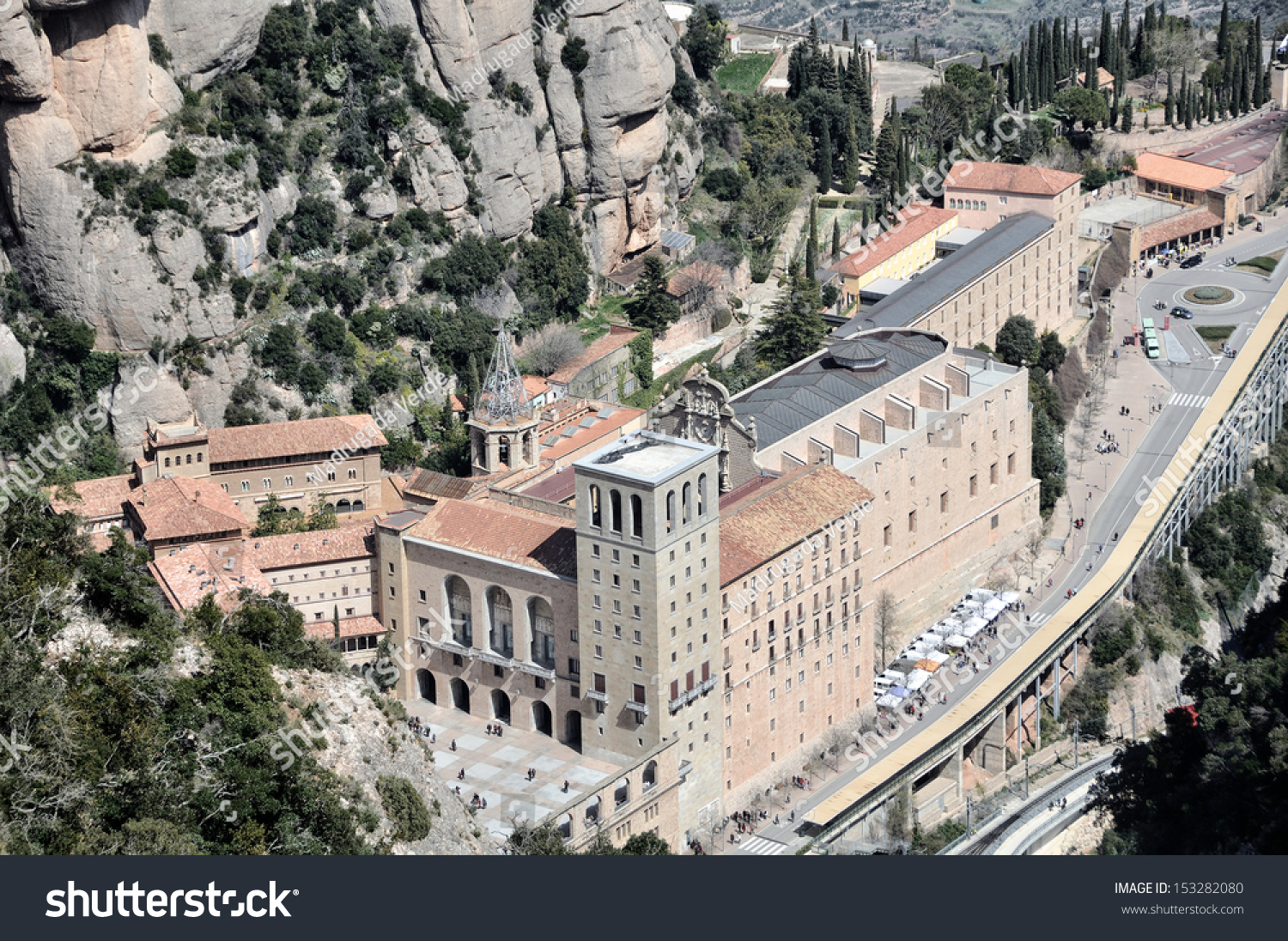 Aerial view of Santa Maria de Montserrat Monastery in Catalonia, Spain #153282080