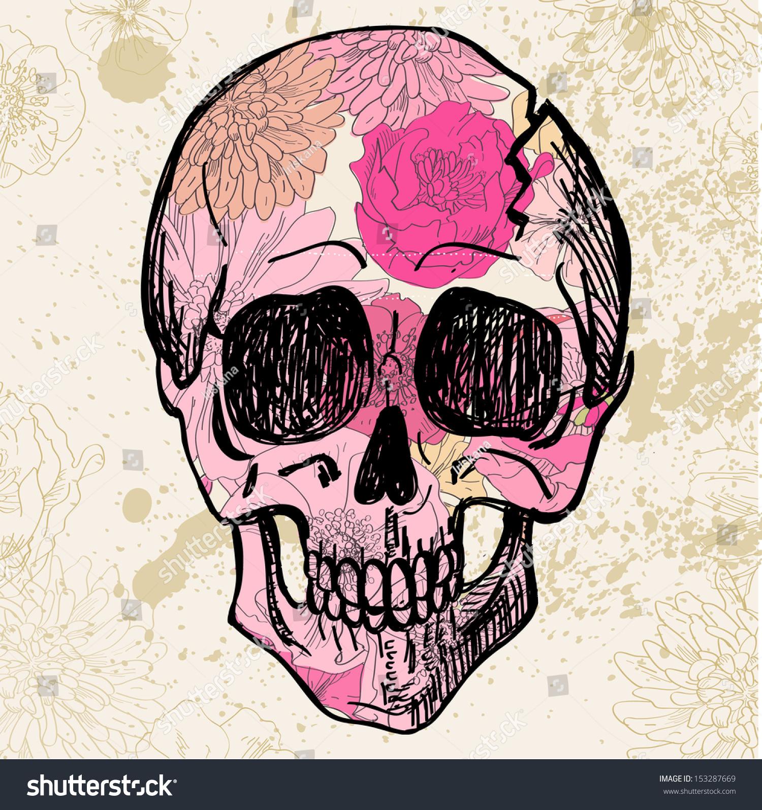 Vector skull pink flower pattern on stock vector 153287669 vector skull with pink flower pattern on textured background vintage illustration mightylinksfo