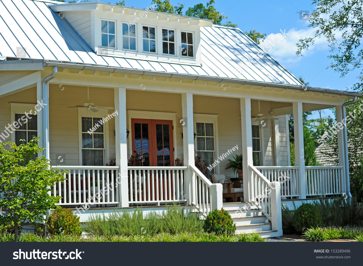 New cottage style house large front stock photo 153289496 for Homes with large porches