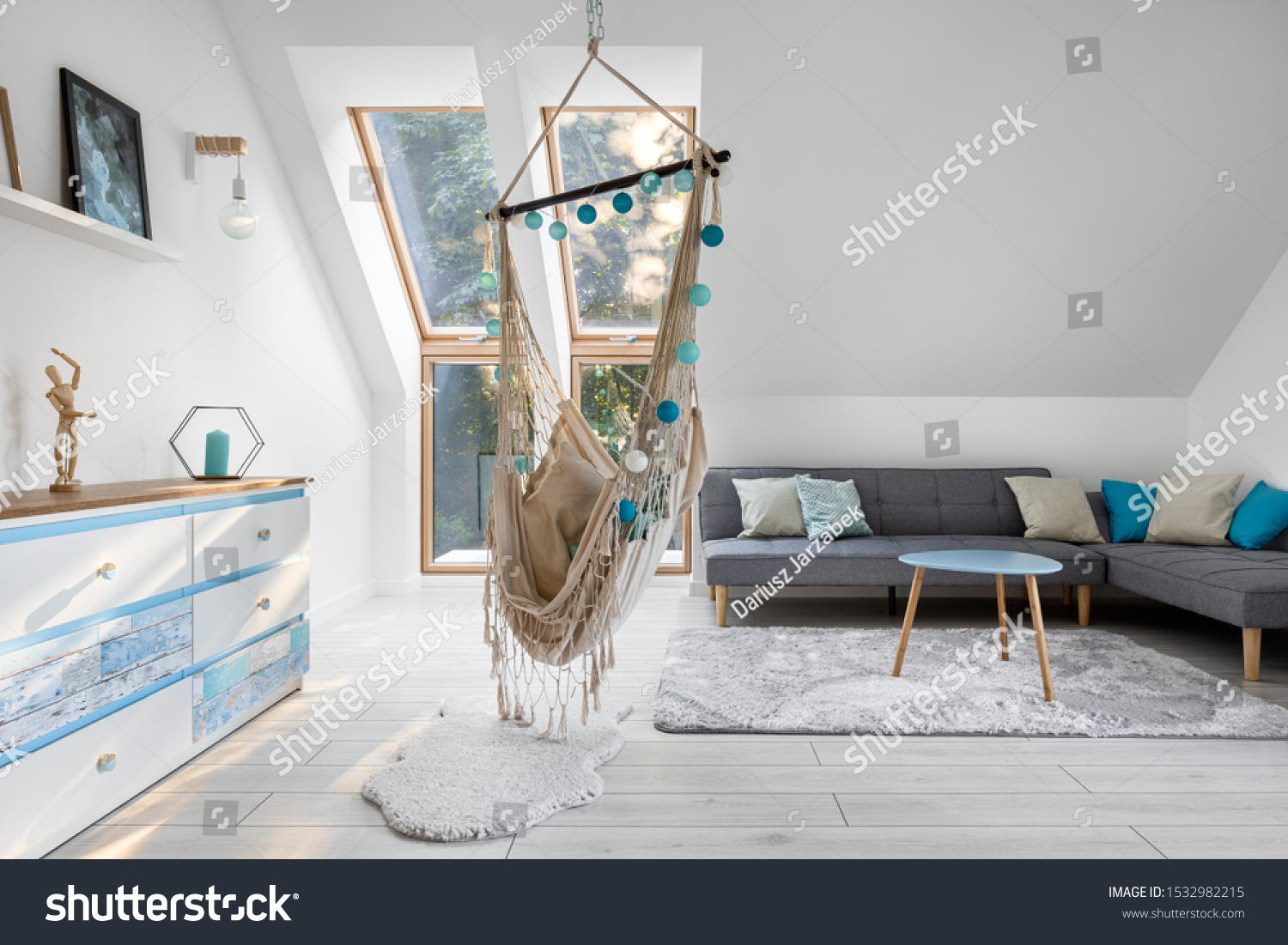 Attic Room White Blue Hammock Seat Stock Photo Edit Now 1532982215