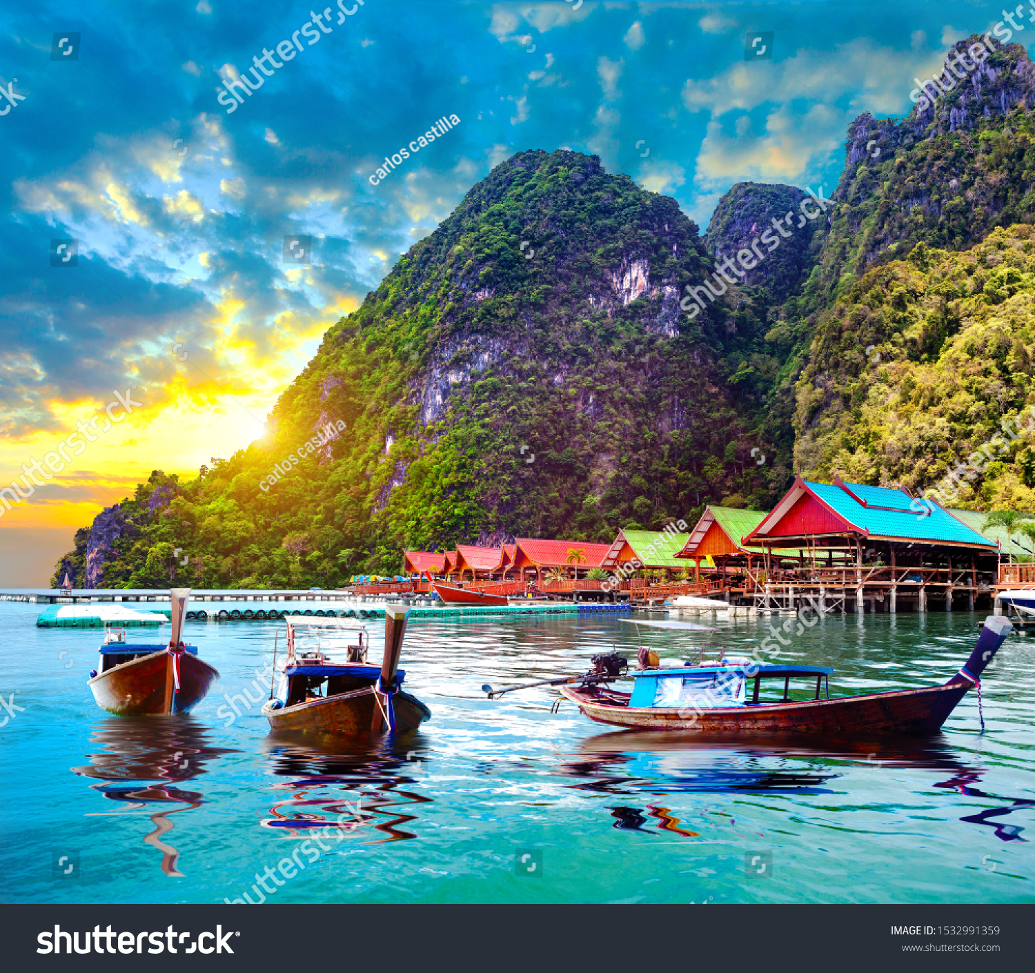Scenic Phuket landscape.Seascape and paradisiacal  idyllic beach. Scenery Thailand sea and island .Adventures and exotic travel concept #1532991359