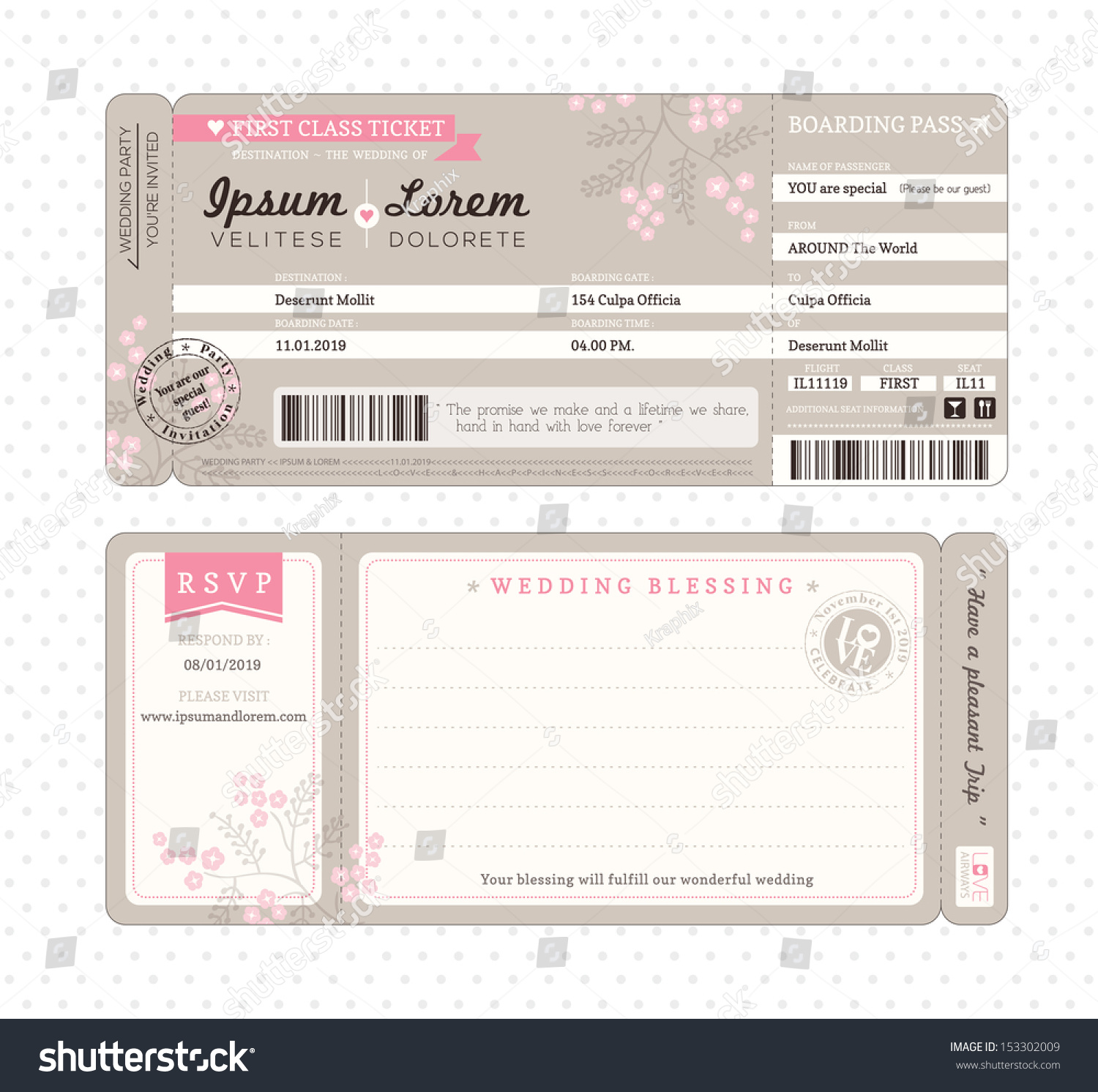 Boarding Pass Ticket Wedding Invitation Template Stock Vector