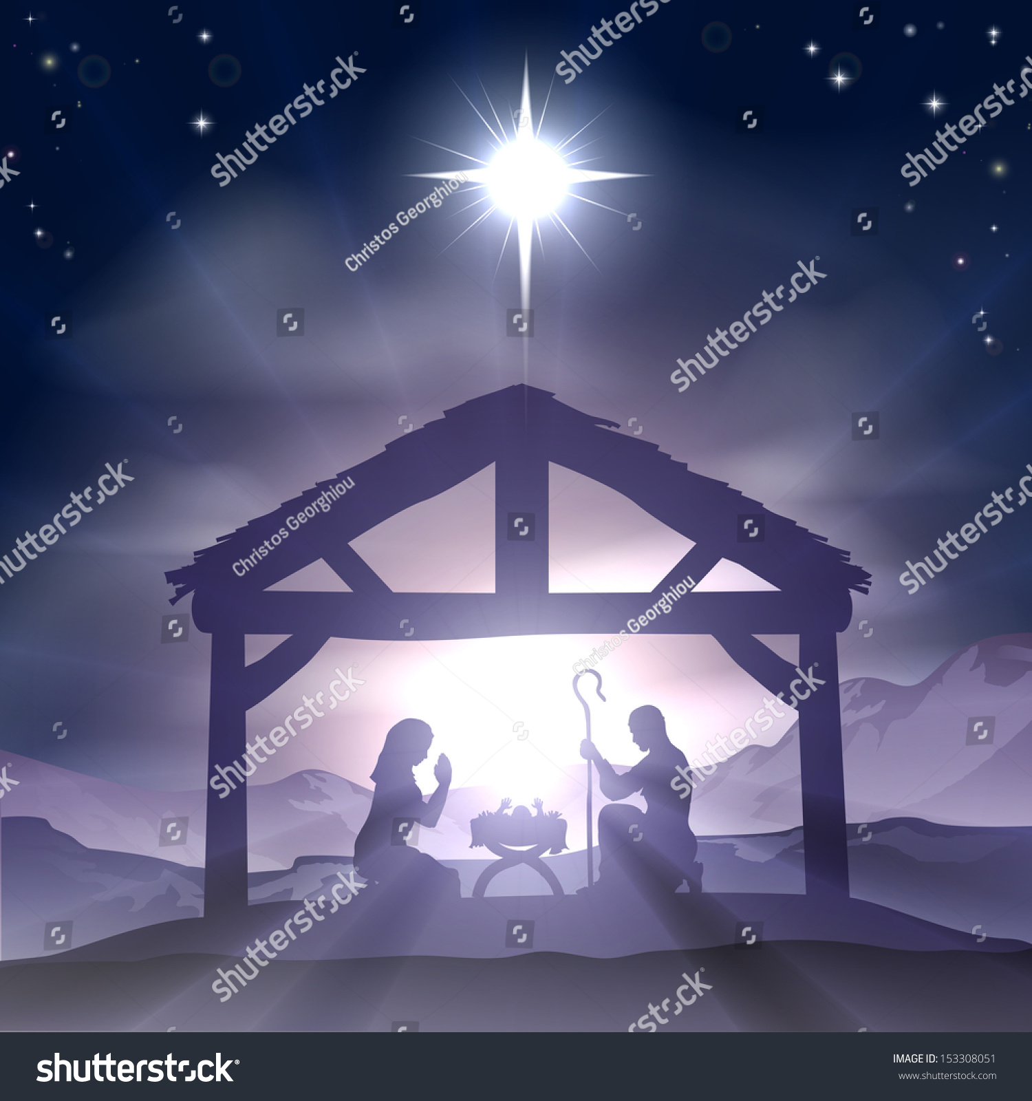 Star of bethlehem outdoor christmas decoration - Christmas Christian Nativity Scene With Baby Jesus In The Manger In Silhouette And Star Of