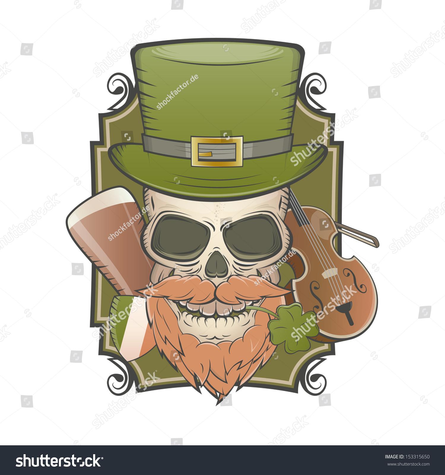 8551c24b Irish Vintage Skull Stock Vector (Royalty Free) 153315650