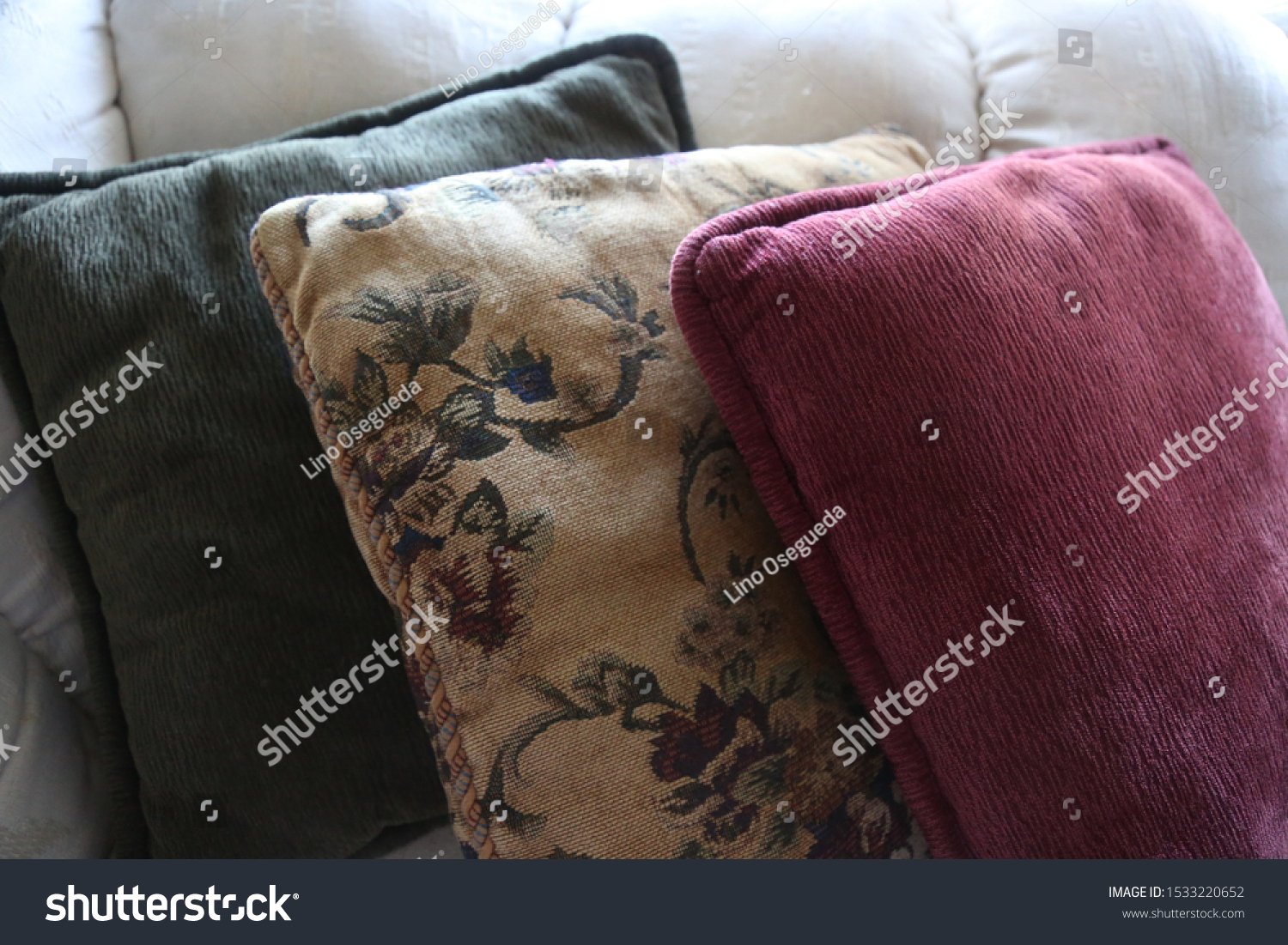 Red Green Yellow Throw Pillows On Stock Photo Edit Now 1533220652
