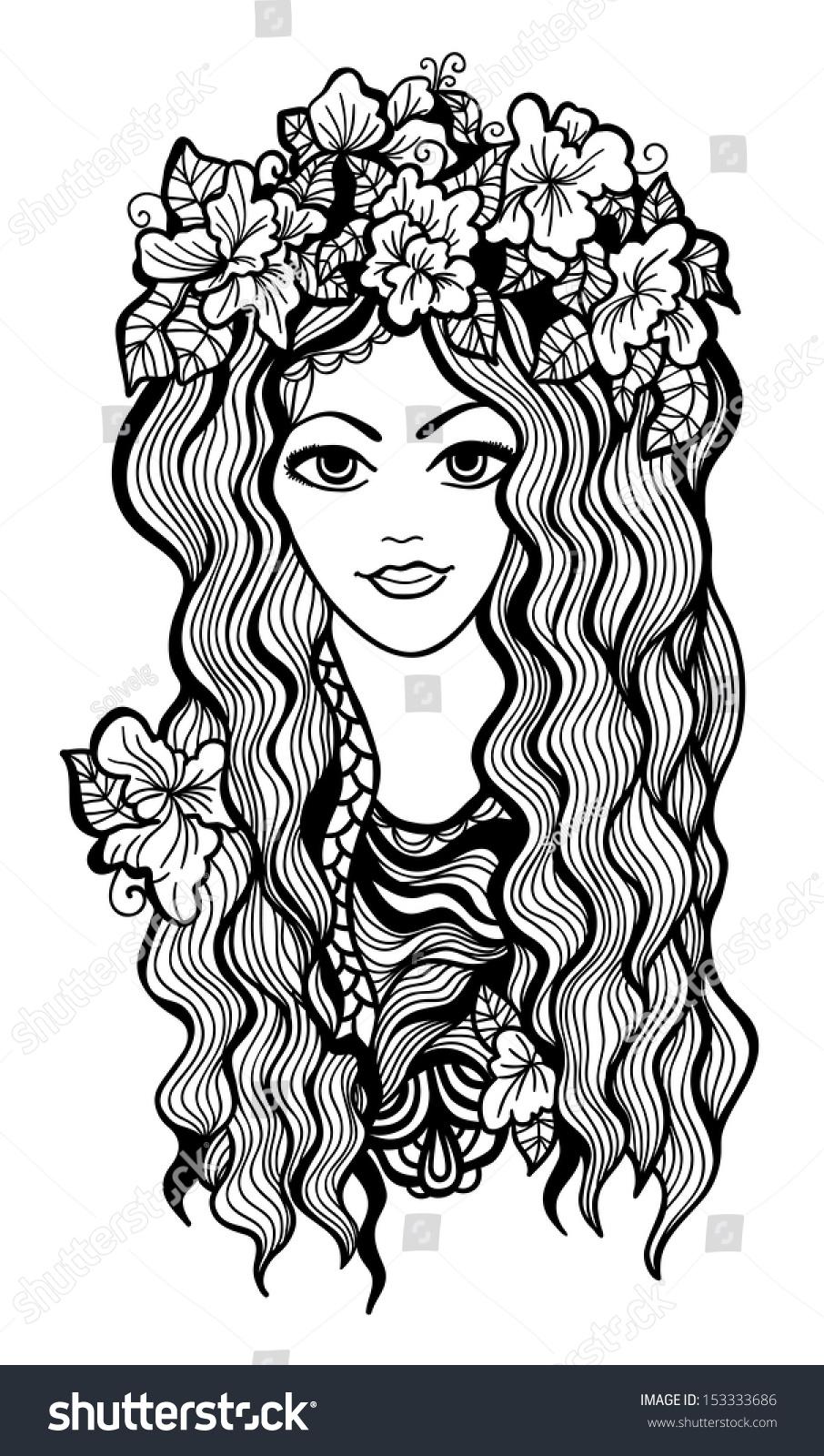 Beautiful Black White Girl Flower Crown Stock Illustration 153333686