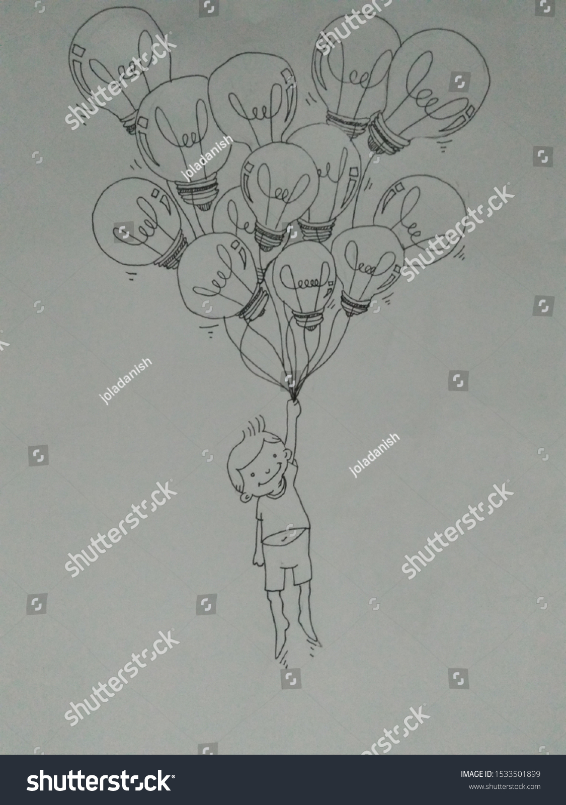 Boy carried or bring bulb balloon #1533501899