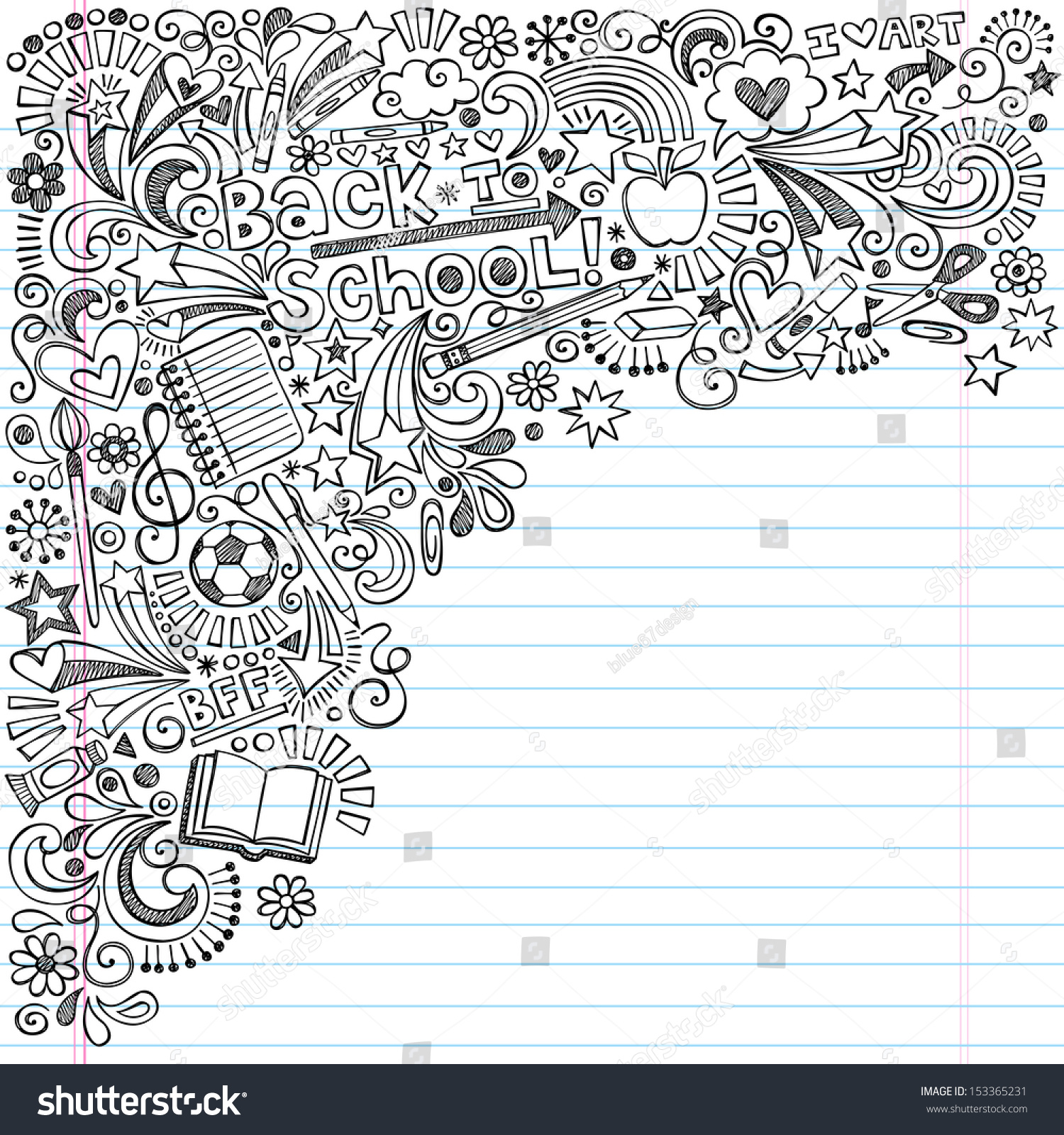 Inky Back To School Notebook Doodles With Apple Soccer Ball Art Supplies And Book