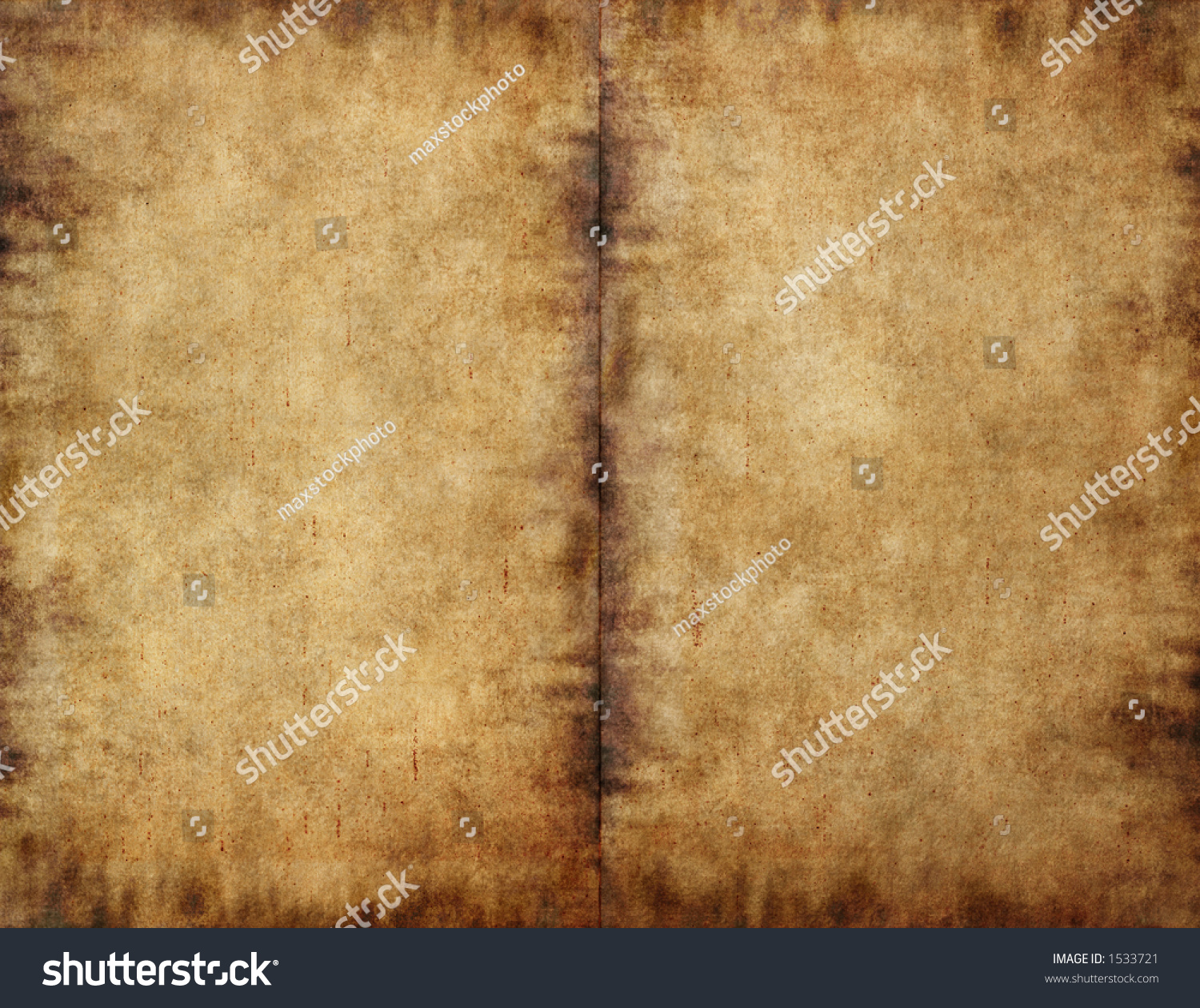 Creased Book Cover Texture : Unfolded old ancient book cover smudged stock photo