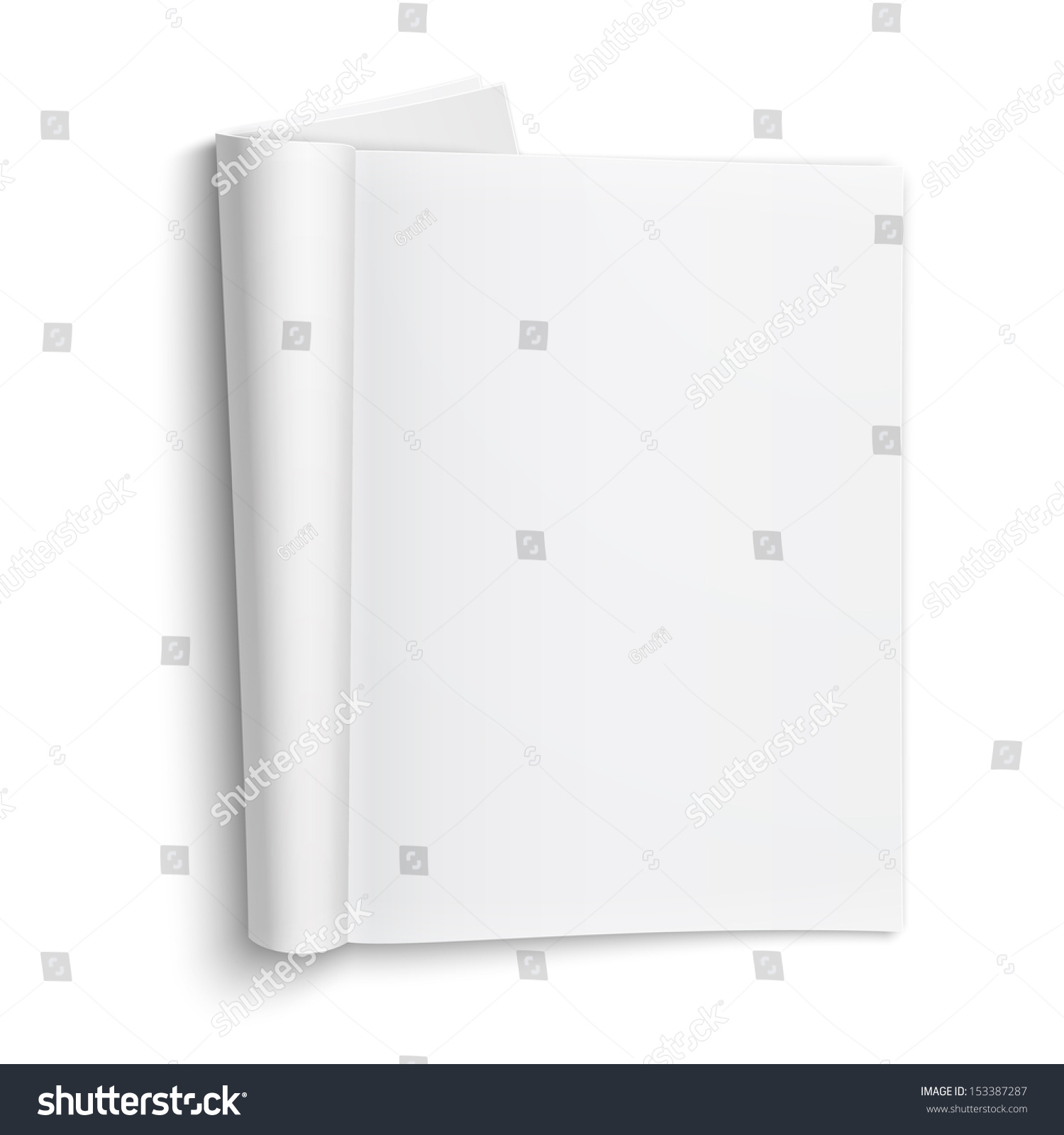 Blank Open Magazine Template On White Background With Soft ...