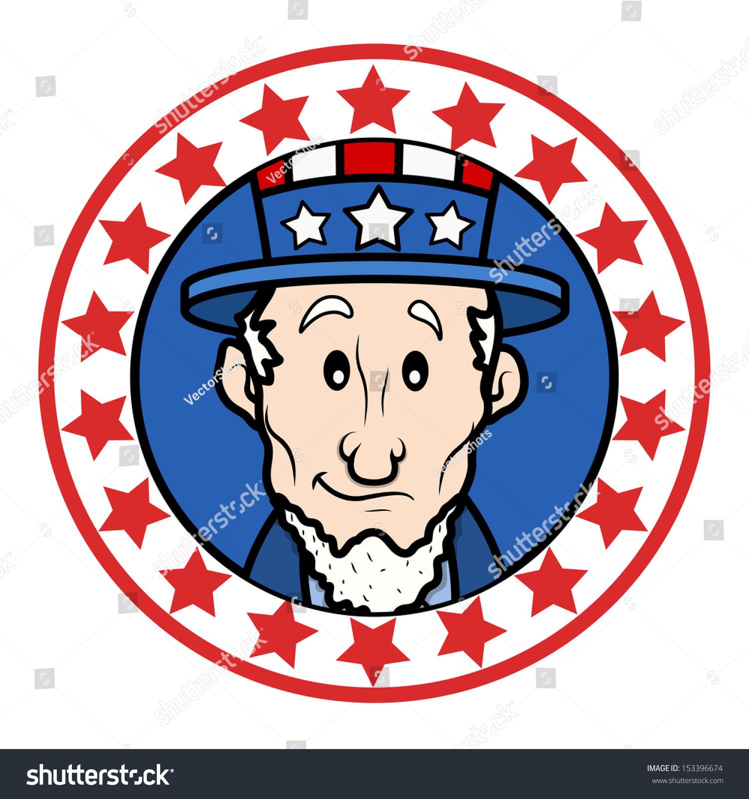 Patriotic Usa Theme Circular Design With Abraham Lincoln Wearing
