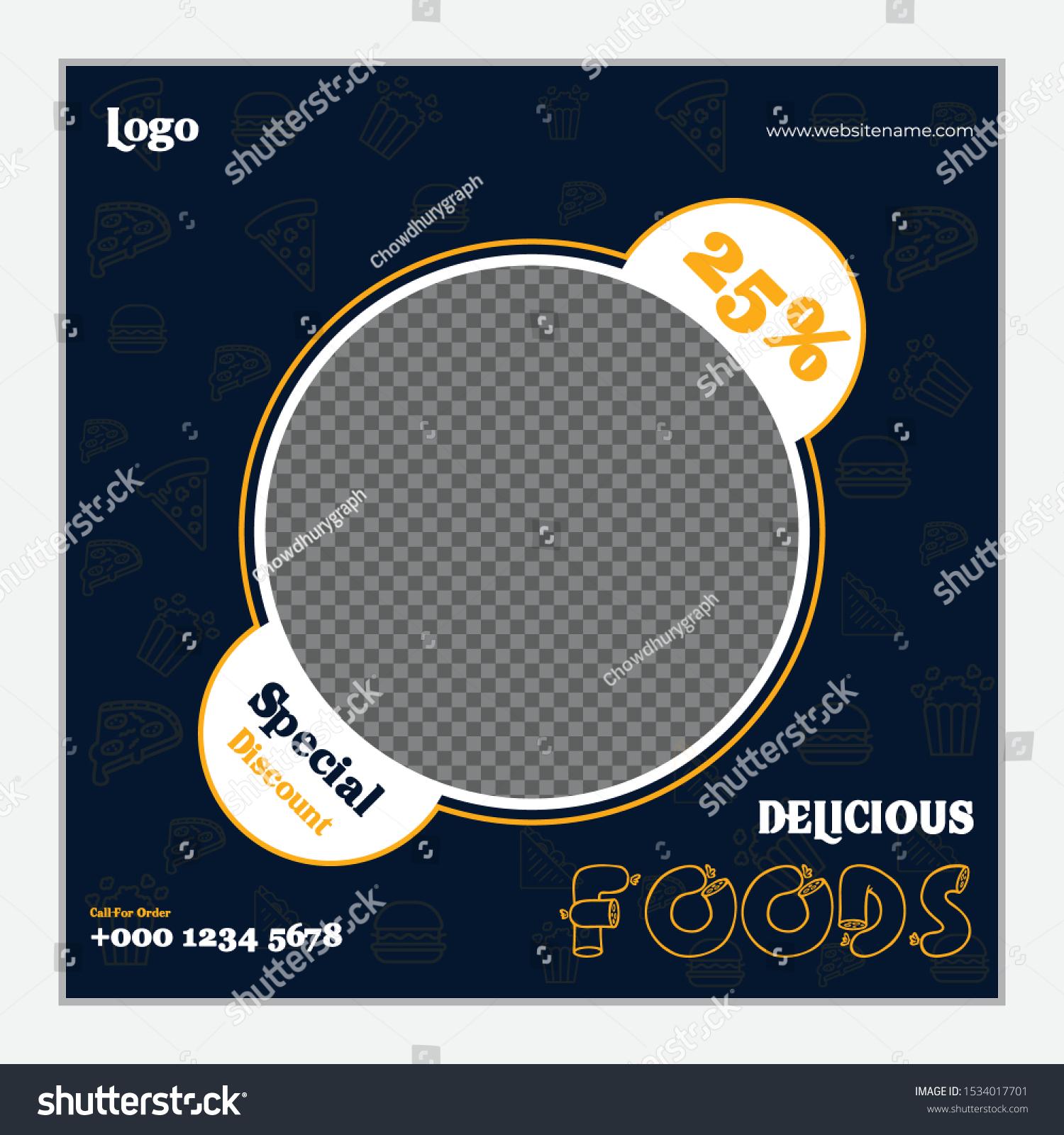Social Media Post Design Food Restaurant Stock Vector Royalty Free 1534017701