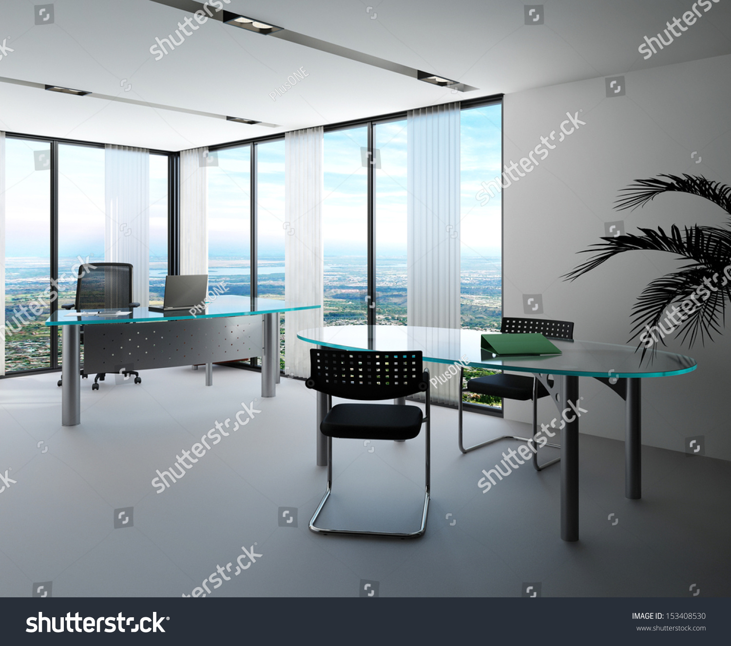 Interior office windows - Modern Office Interior With Huge Windows With Panoramic View