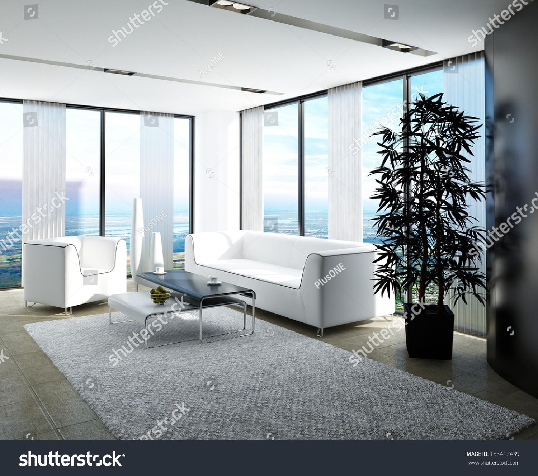 Modern White Living Room Huge Windows Stock Photo (Royalty Free ...