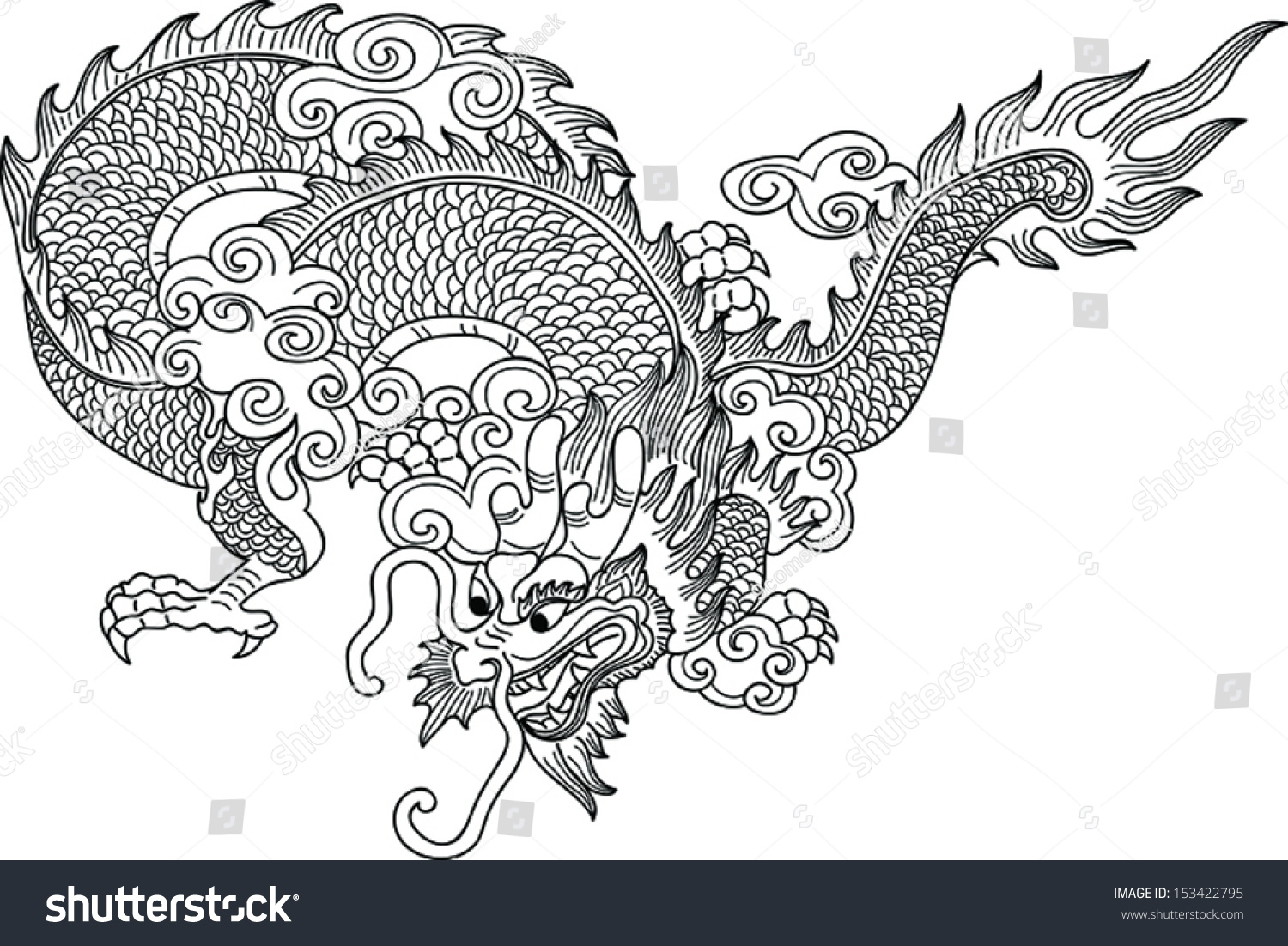 illustration tradition chinese dragon pattern stock vector