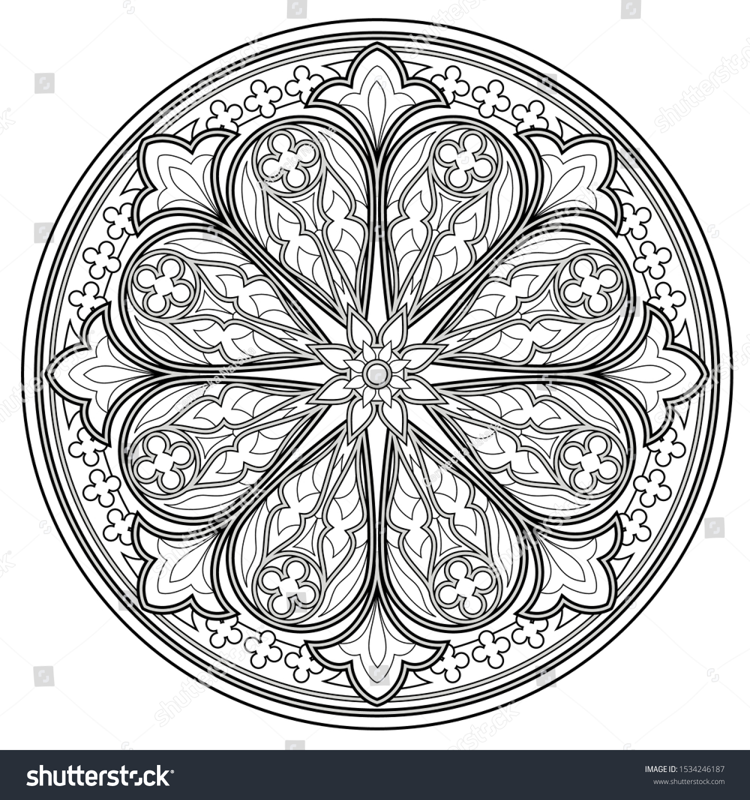 - Black White Page Coloring Book Fantasy Stock Vector (Royalty Free