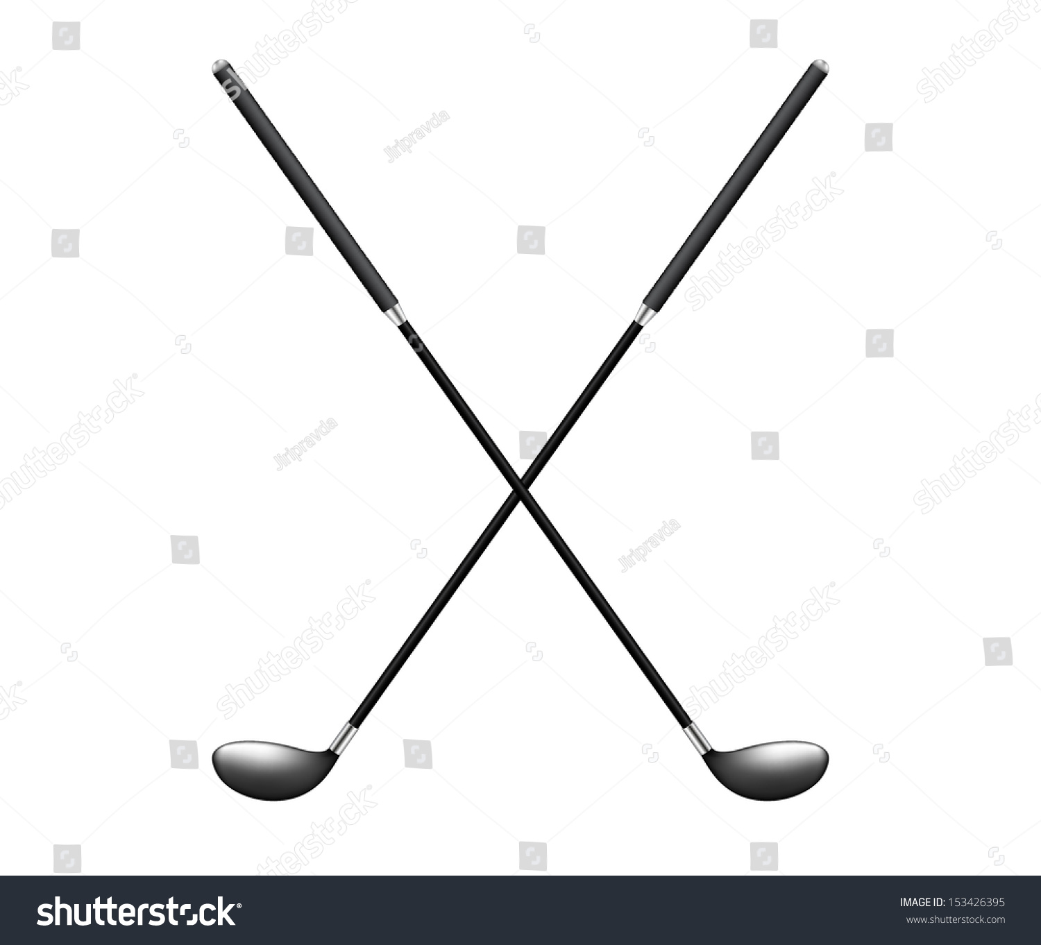 Two Crossed Golf Clubs Stock Vector Royalty Free 153426395