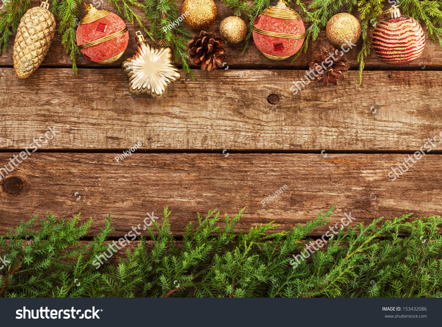 Pine Branches For Decoration Vintage Christmas Background Old Planked Wood Stock Photo