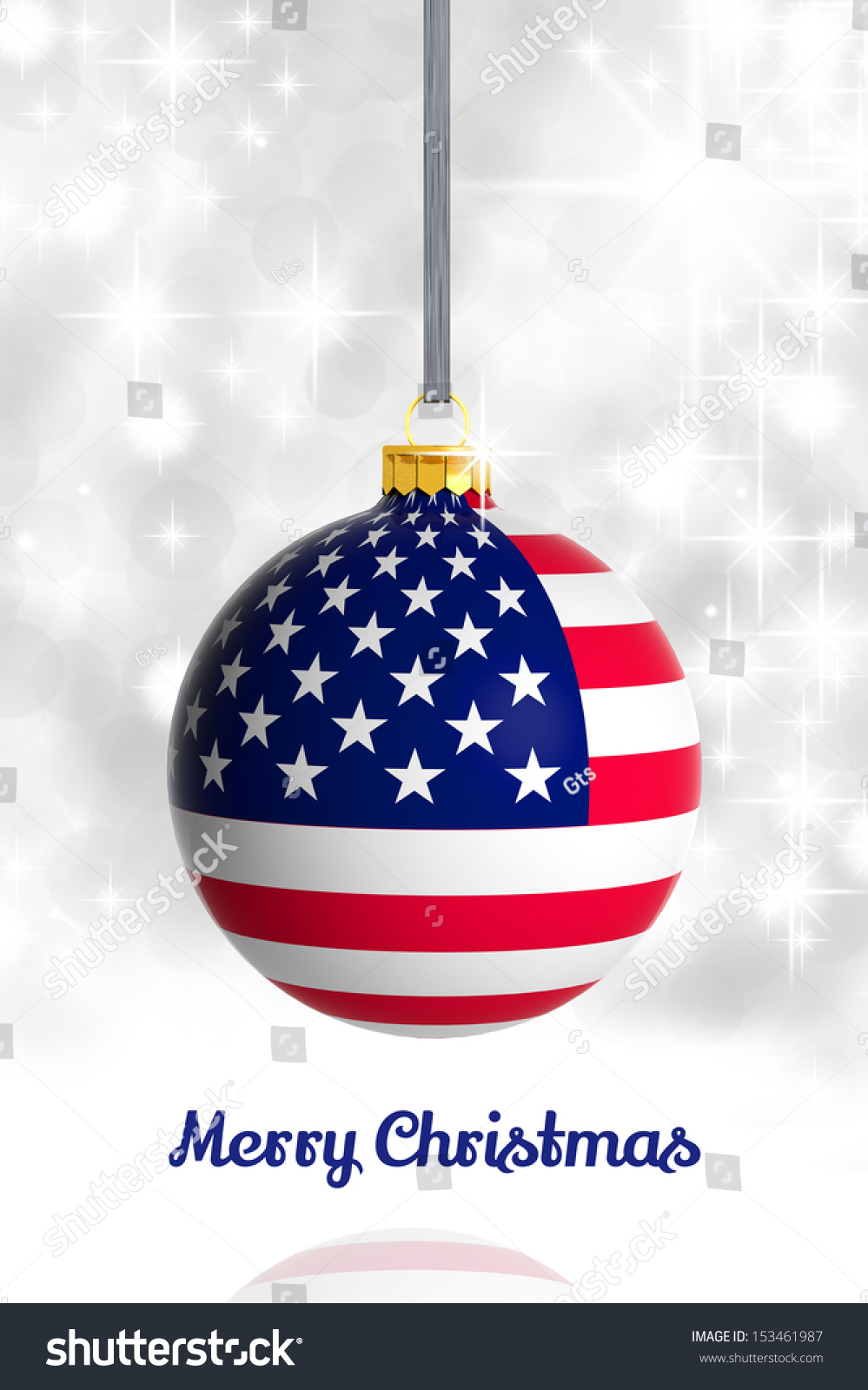 United States Christmas Ornaments Part - 42: Merry Christmas From USA. Christmas Ball With Flag