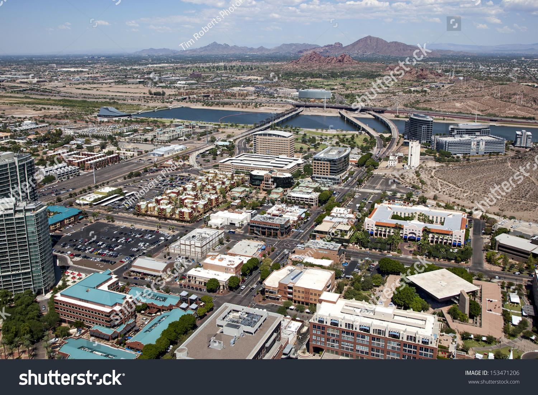aerial view downtown tempe arizona town stock photo