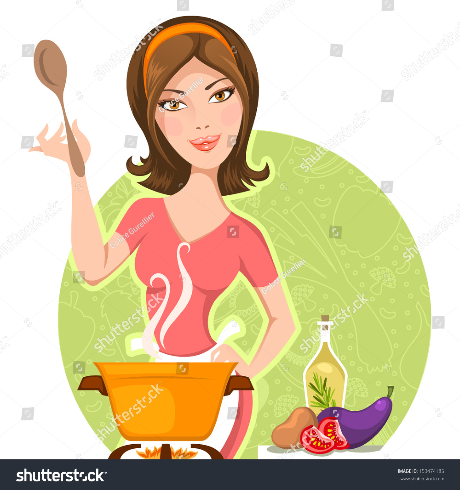 Clipart Woman Cooking