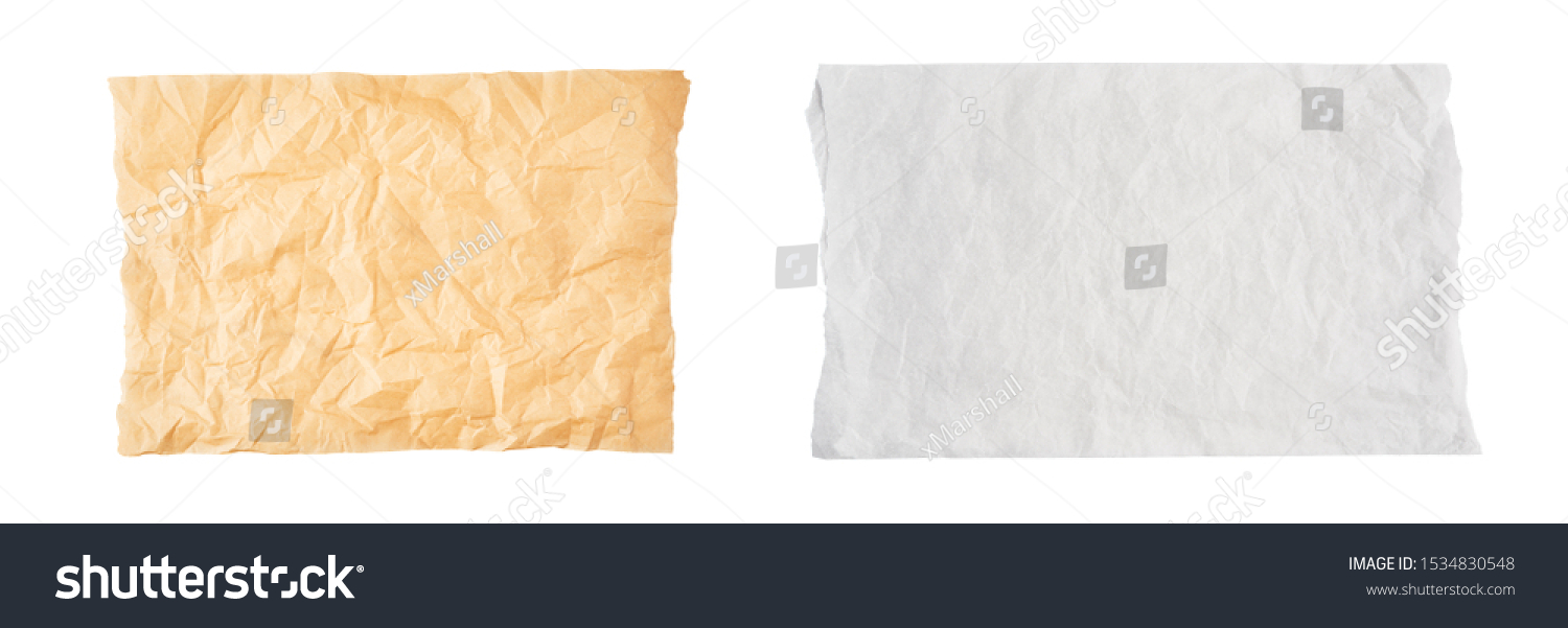 Crumpled piece of brown and white parchment or baking paper isolated on white background. Top view. Copy space for text. Design element. #1534830548