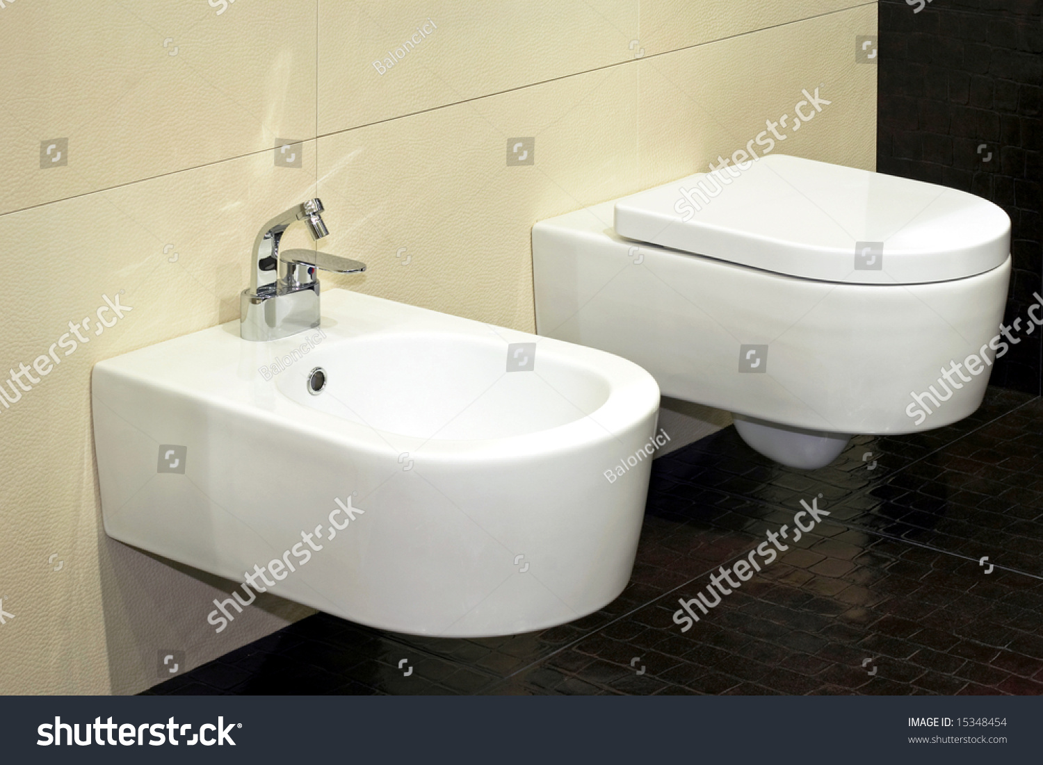 White bidet and toilet in brown lavatory | EZ Canvas