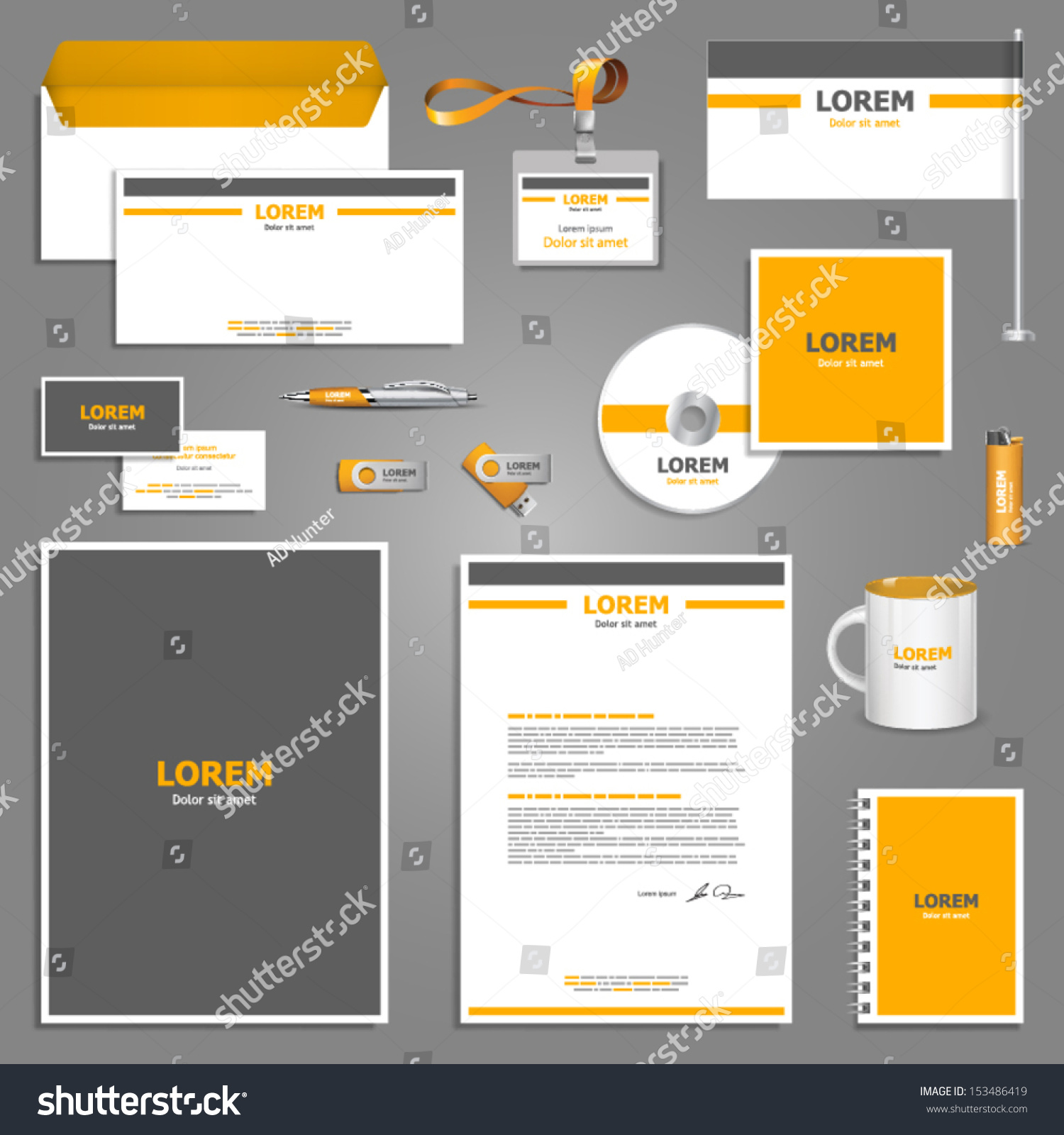 corporate identity template vector company style for brandbook and guideline eps 10. Black Bedroom Furniture Sets. Home Design Ideas