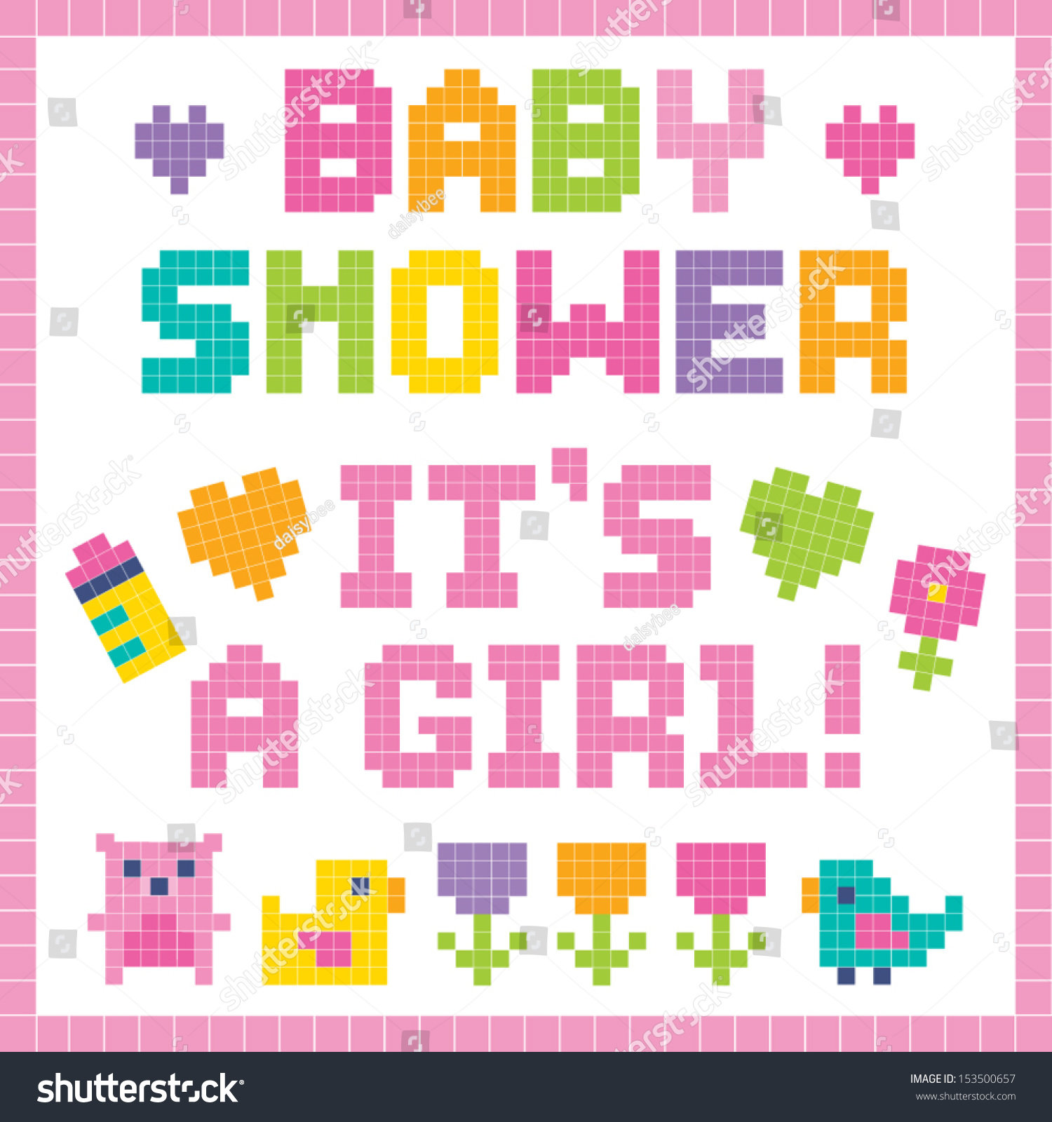 Royalty-free Cute set of pixel art baby elements and… #153500657 ...