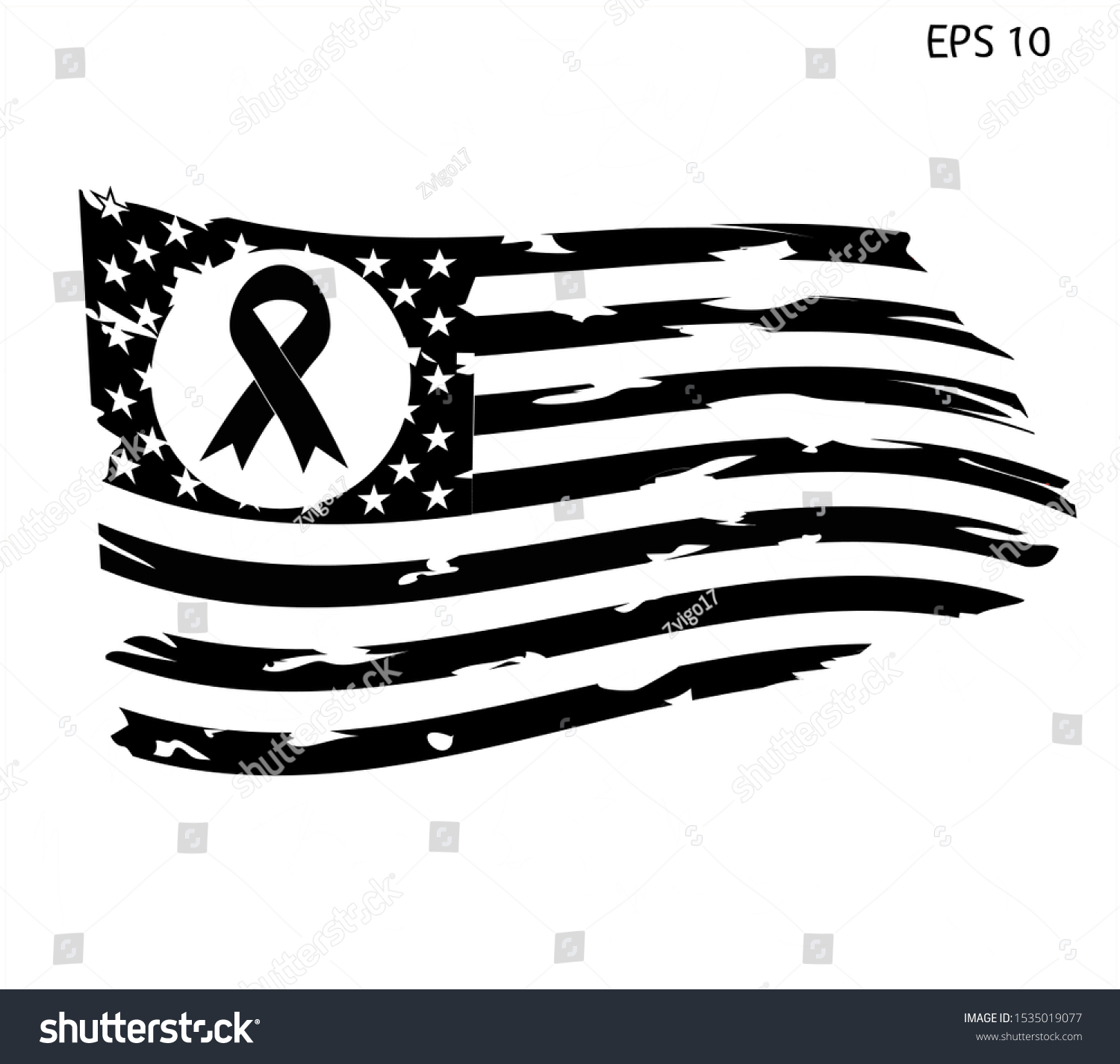 Awareness Ribbon Breast Cancer Awareness American Stock Vector