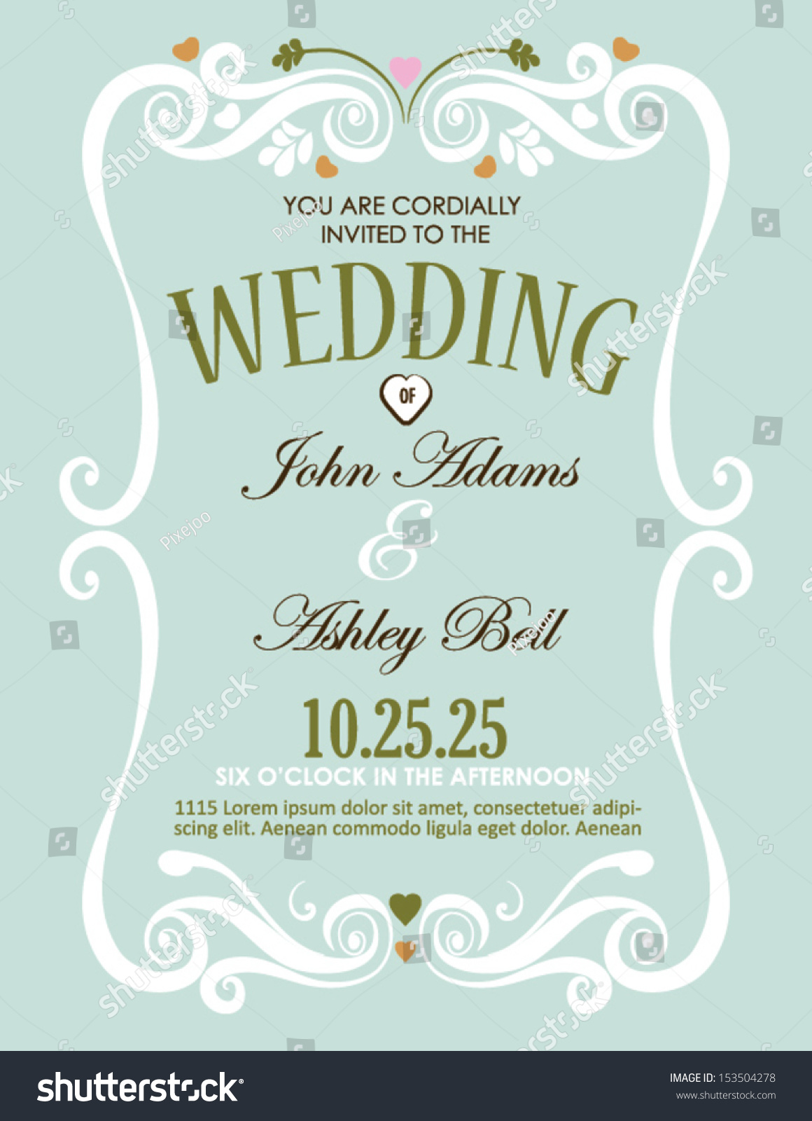 Wedding Invitation Card Design Vector Border Stock Vector