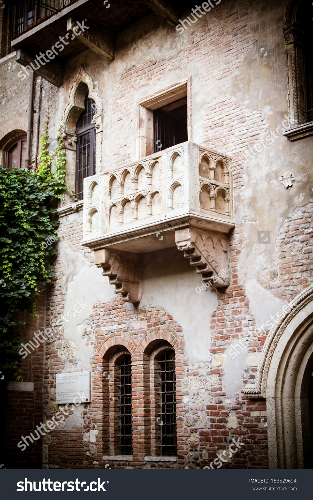 The famous julia balcony in verona italy stock photo for Famous balcony