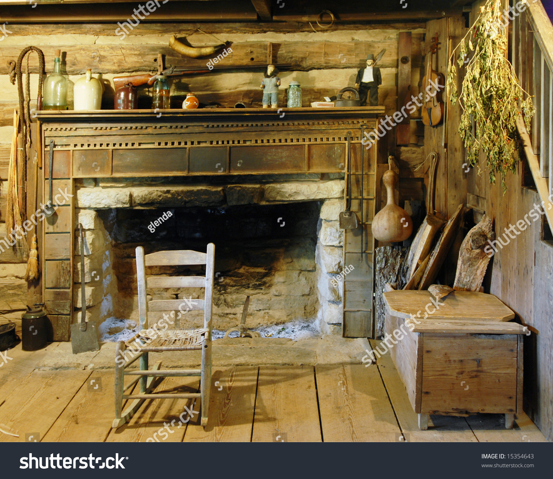 Interior View Interior Fireplace Living Room Stock Photo
