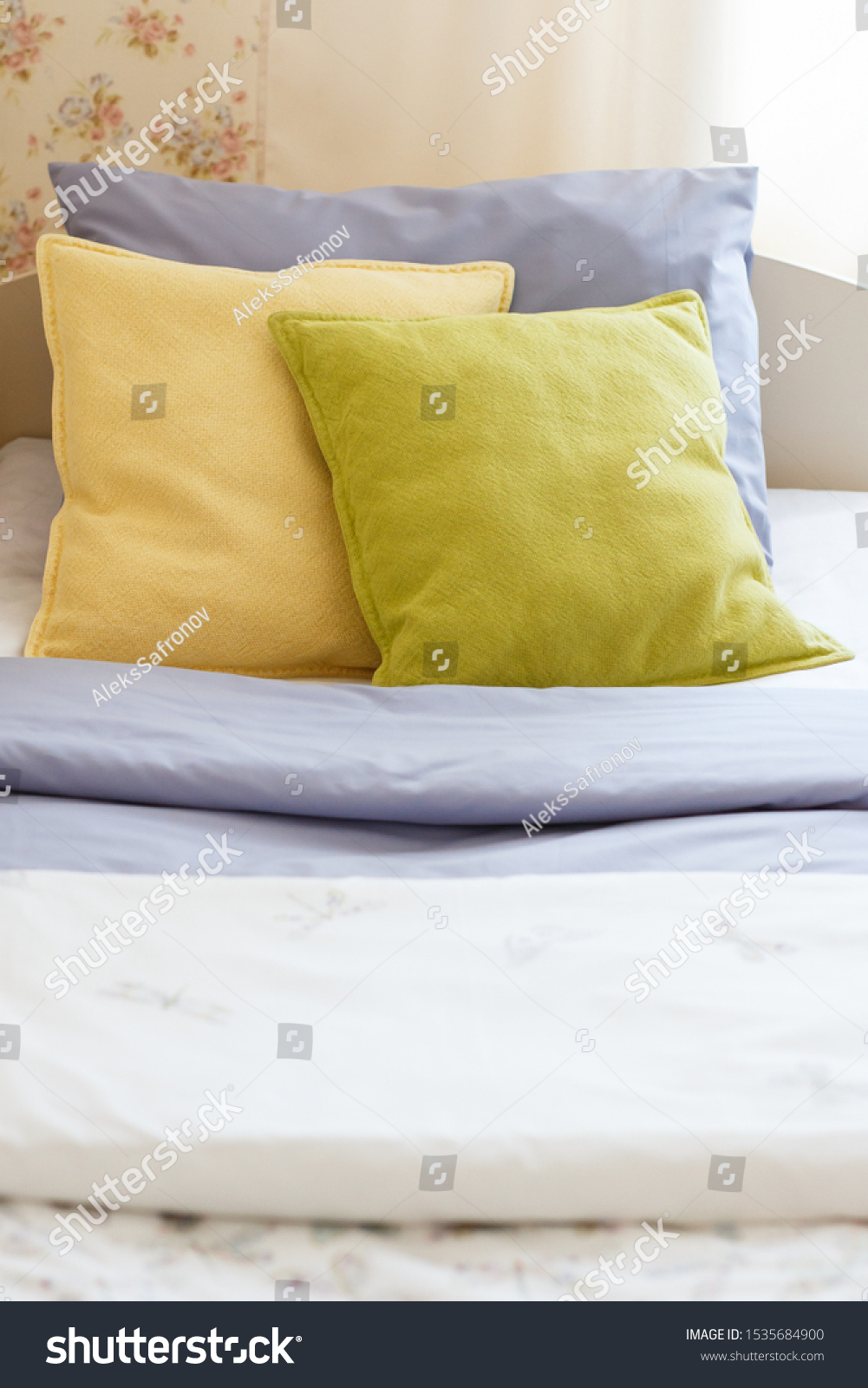 Bright Colored Pillows On Bed Stock Photo Edit Now 1535684900