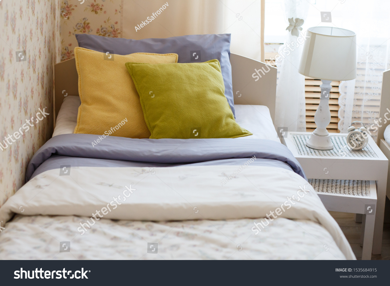 Bright Colored Pillows On Bed Stock Photo Edit Now 1535684915