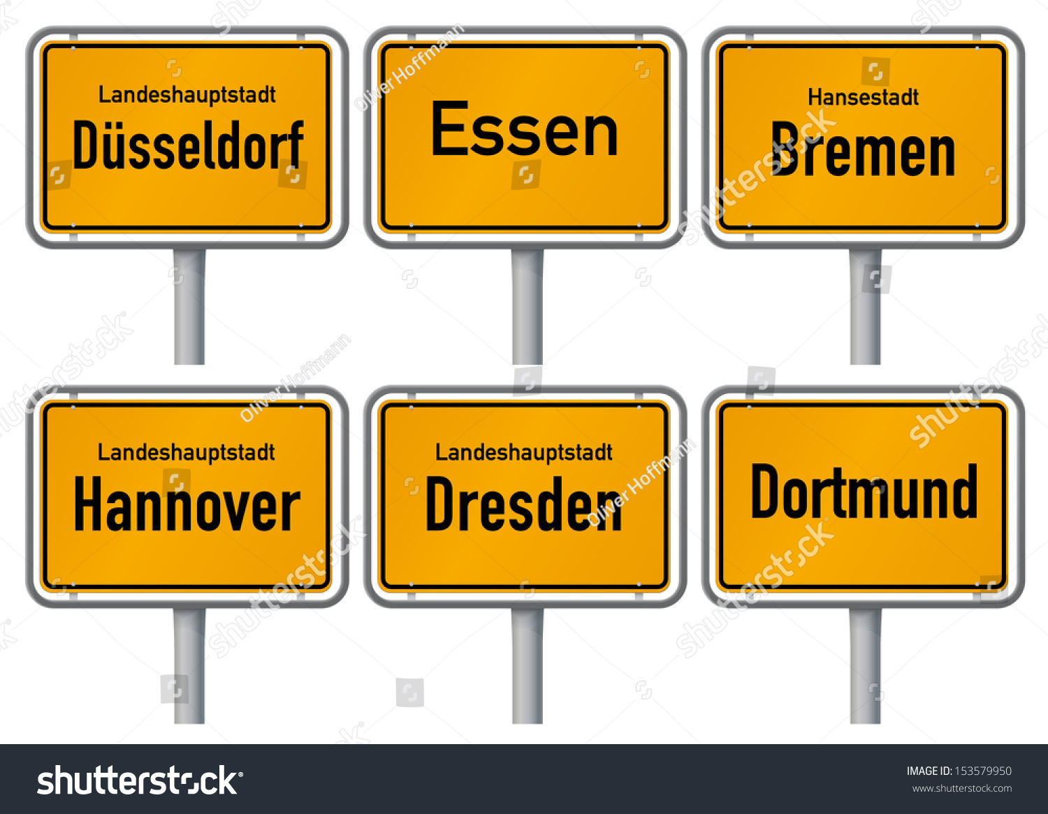 city limits signs of six major cities in germany dusseldorf essen bremen hannover dresden. Black Bedroom Furniture Sets. Home Design Ideas