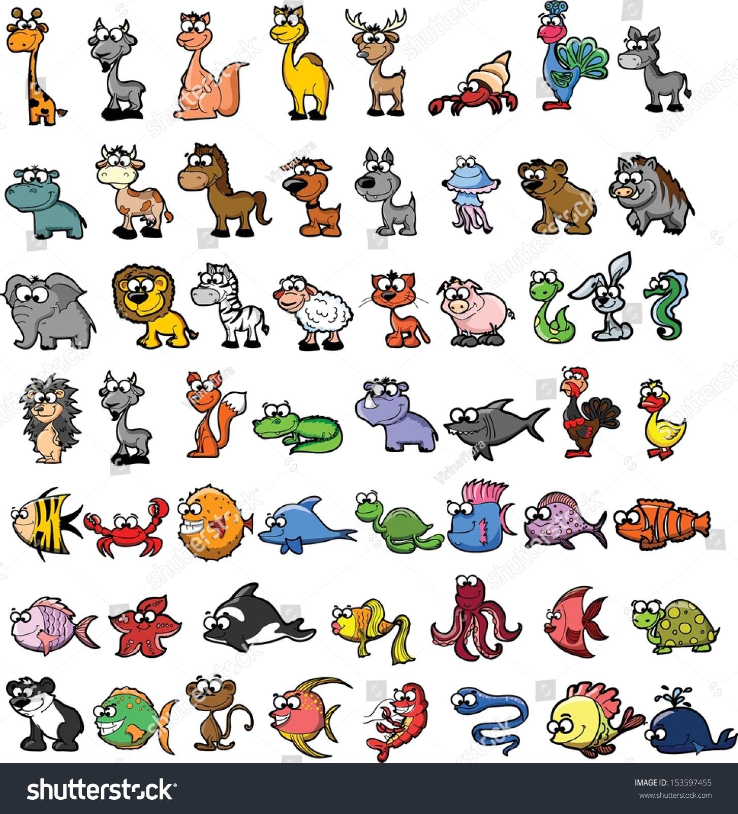 Set Cute Cartoon Animals Stock Vector 153597455 Shutterstock