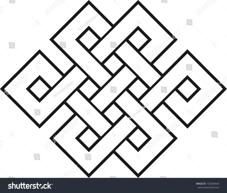 Endless Knot Tibet Eternal Buddhism Spirituality Stock Vector 153599444 Shutterstock
