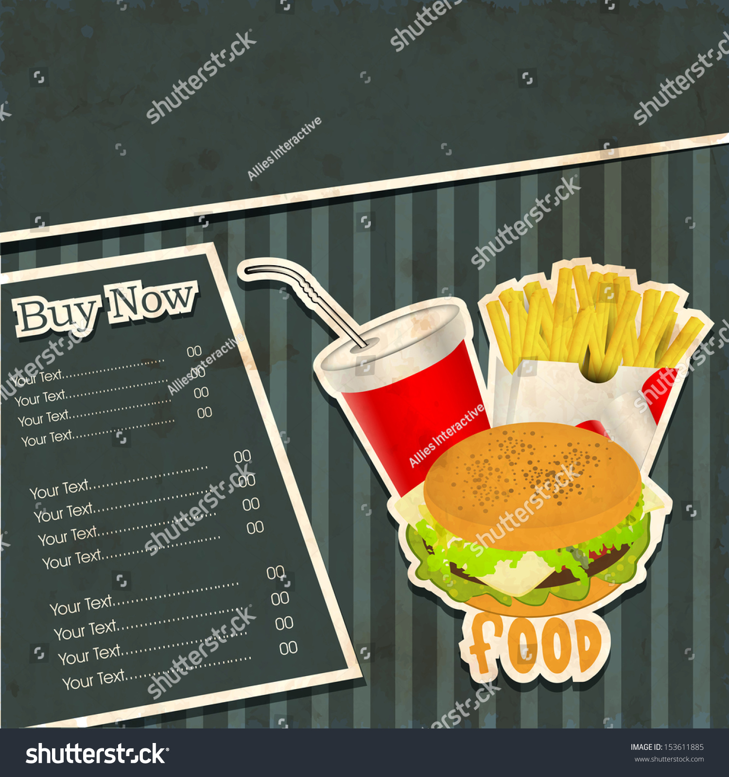 vintage fast food menu card design stock vector 153611885