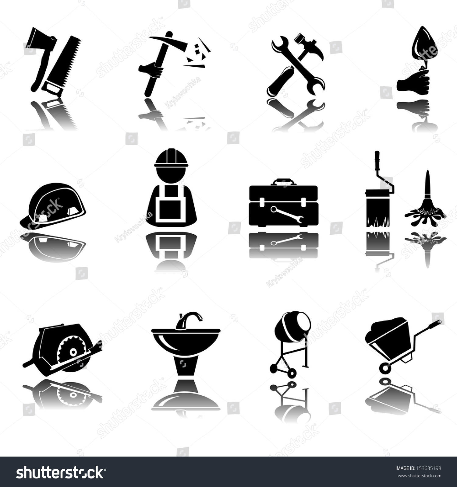 Construction do yourself black silhouette icon stock vector construction and do it yourself black silhouette icon button set solutioingenieria Images
