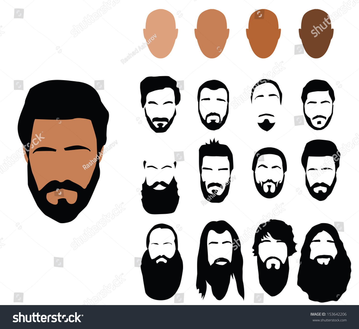 Sensational Beard Styles Stock Vector 153642206 Shutterstock Short Hairstyles For Black Women Fulllsitofus