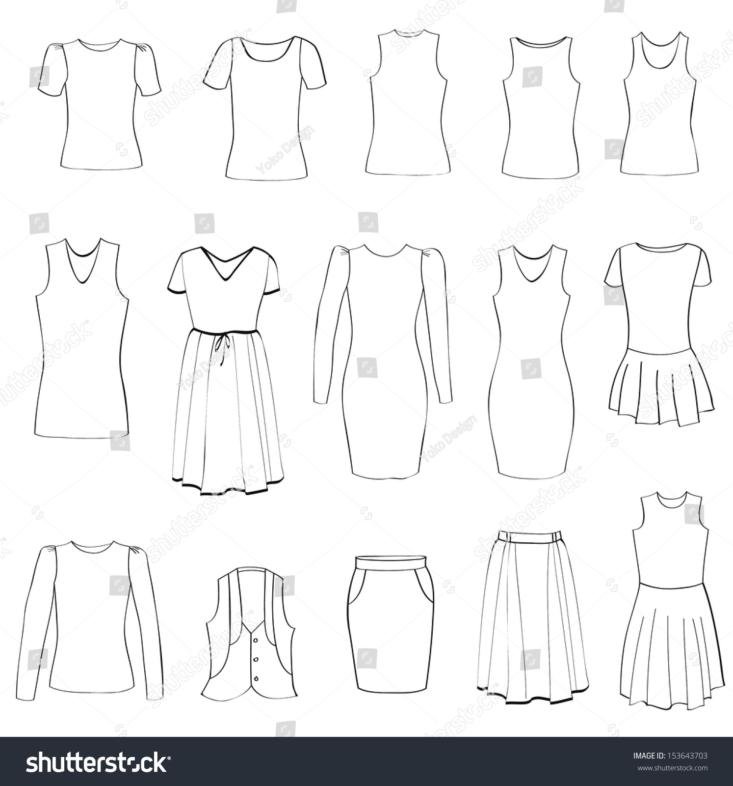 Line Silhouettes In Fashion Design : Fashion icons set female cloth collection stock vector