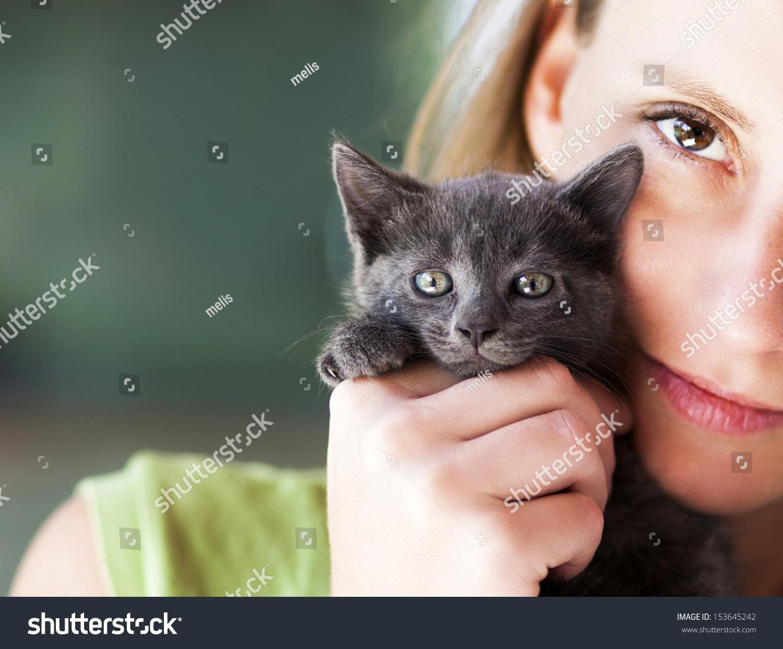 Woman Holding Cute Black Kitten Stock Shutterstock