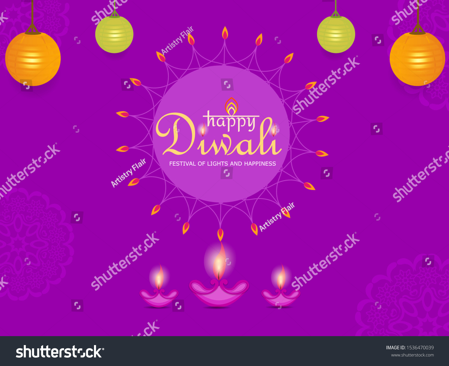 Abstract Beautiful Happy Diwali Flat Background Stock Vector Royalty Free 1536470039